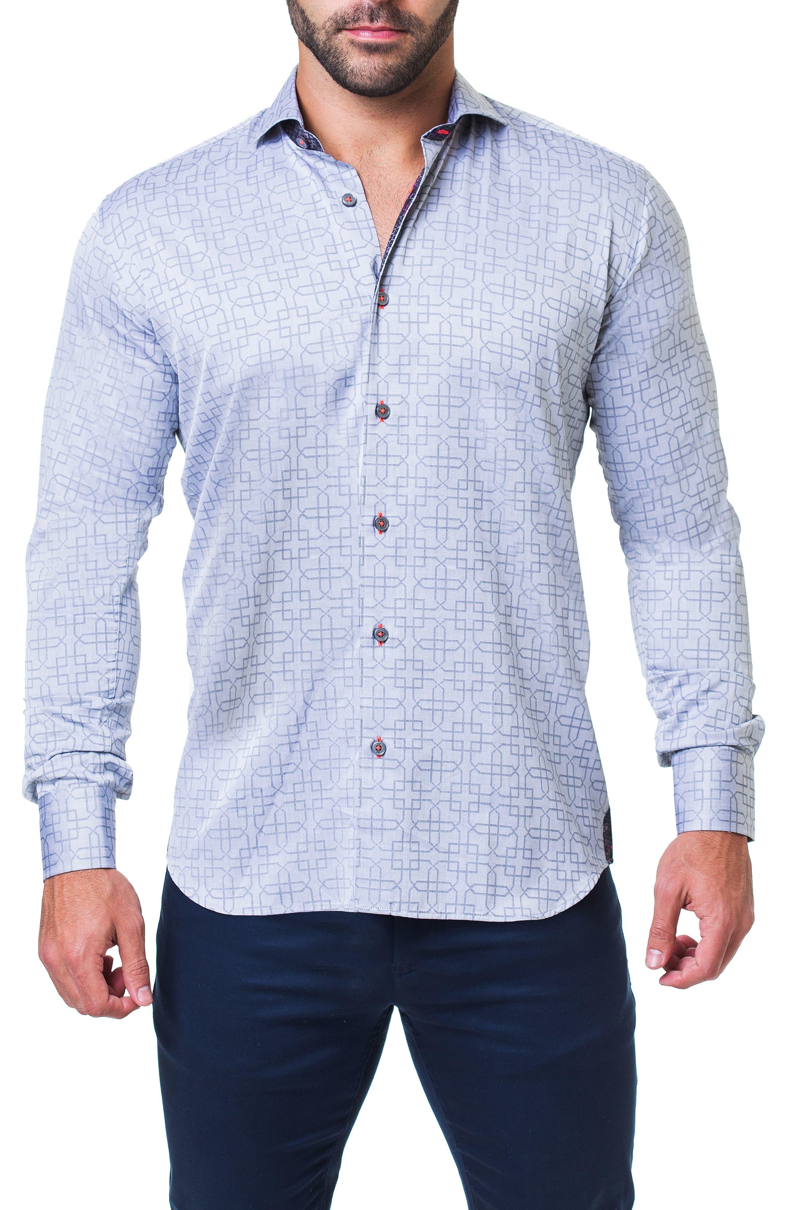 Einstein Architecture Trim Fit Sport Shirt,                         Main,                         color, GREY