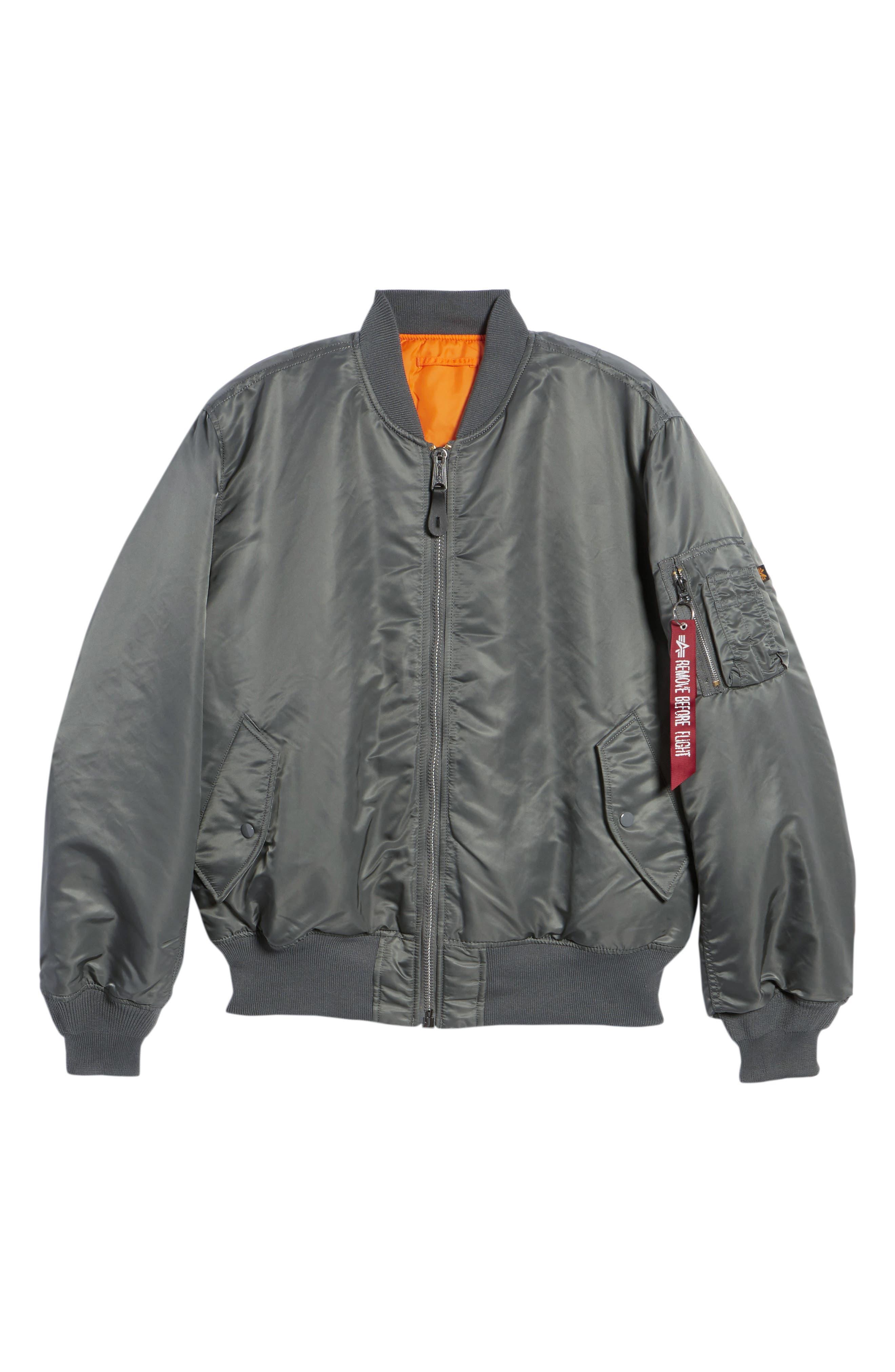 Reversible Flight Jacket,                             Alternate thumbnail 6, color,                             GUNMETAL