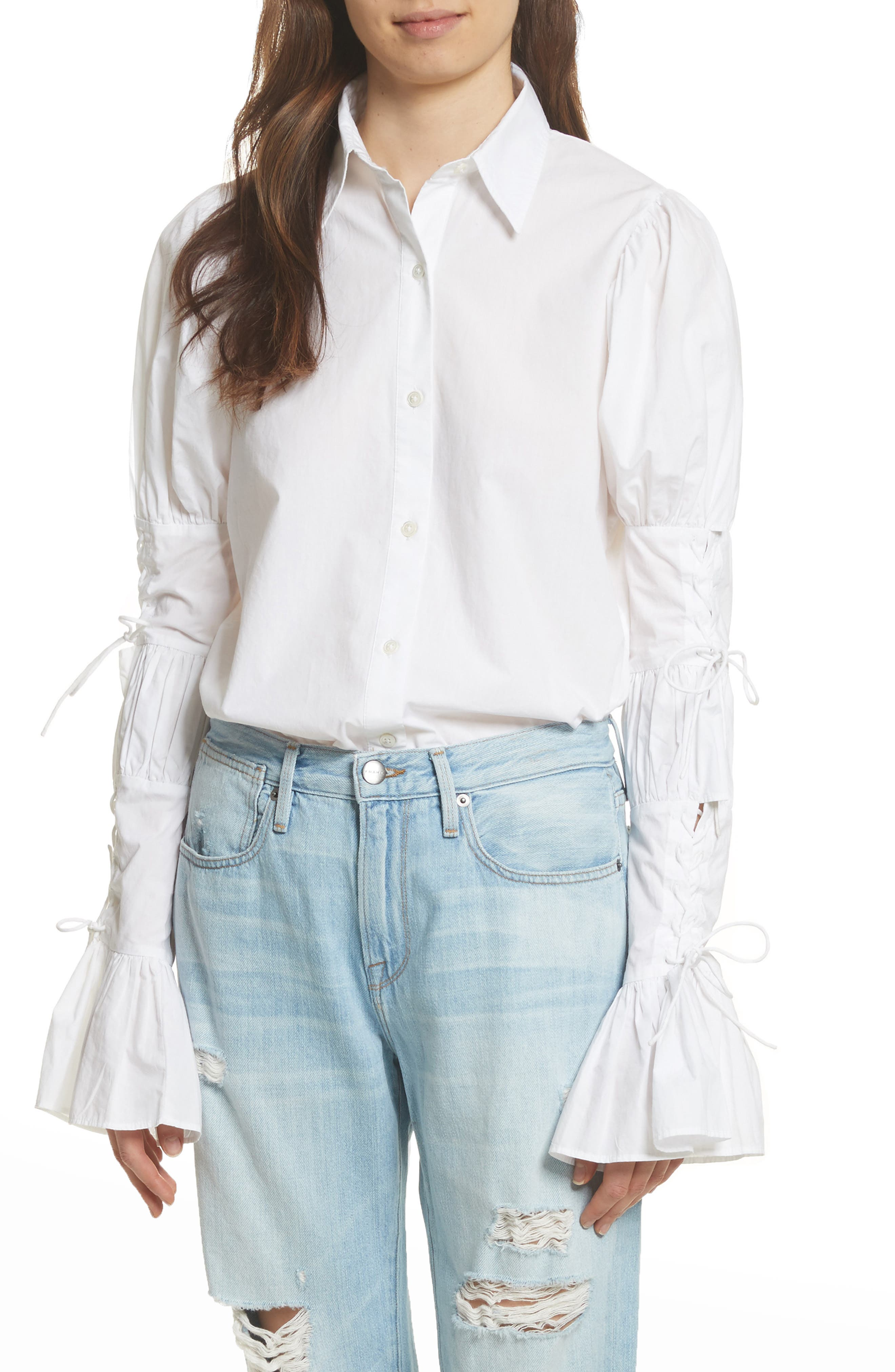 Lace-Up Sleeve Cotton Shirt,                         Main,                         color, BLANC