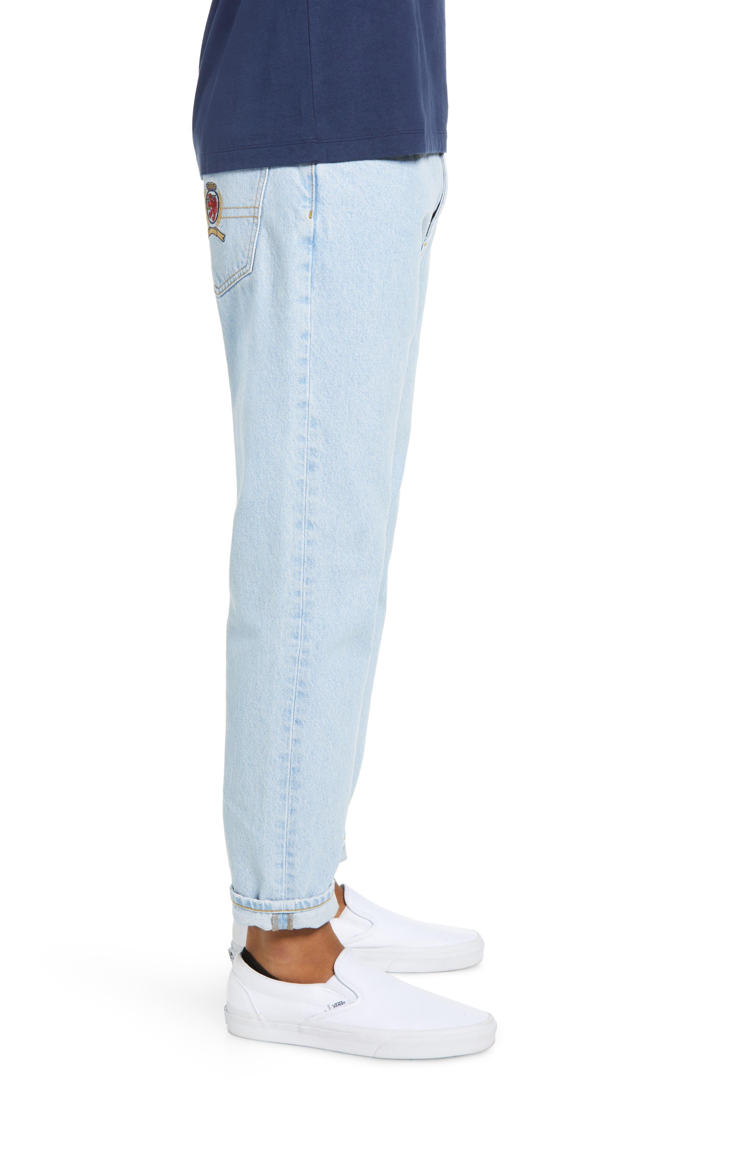 Crest Straight Leg Dad Jeans,                             Alternate thumbnail 3, color,                             LIGHT BLUE DENIM