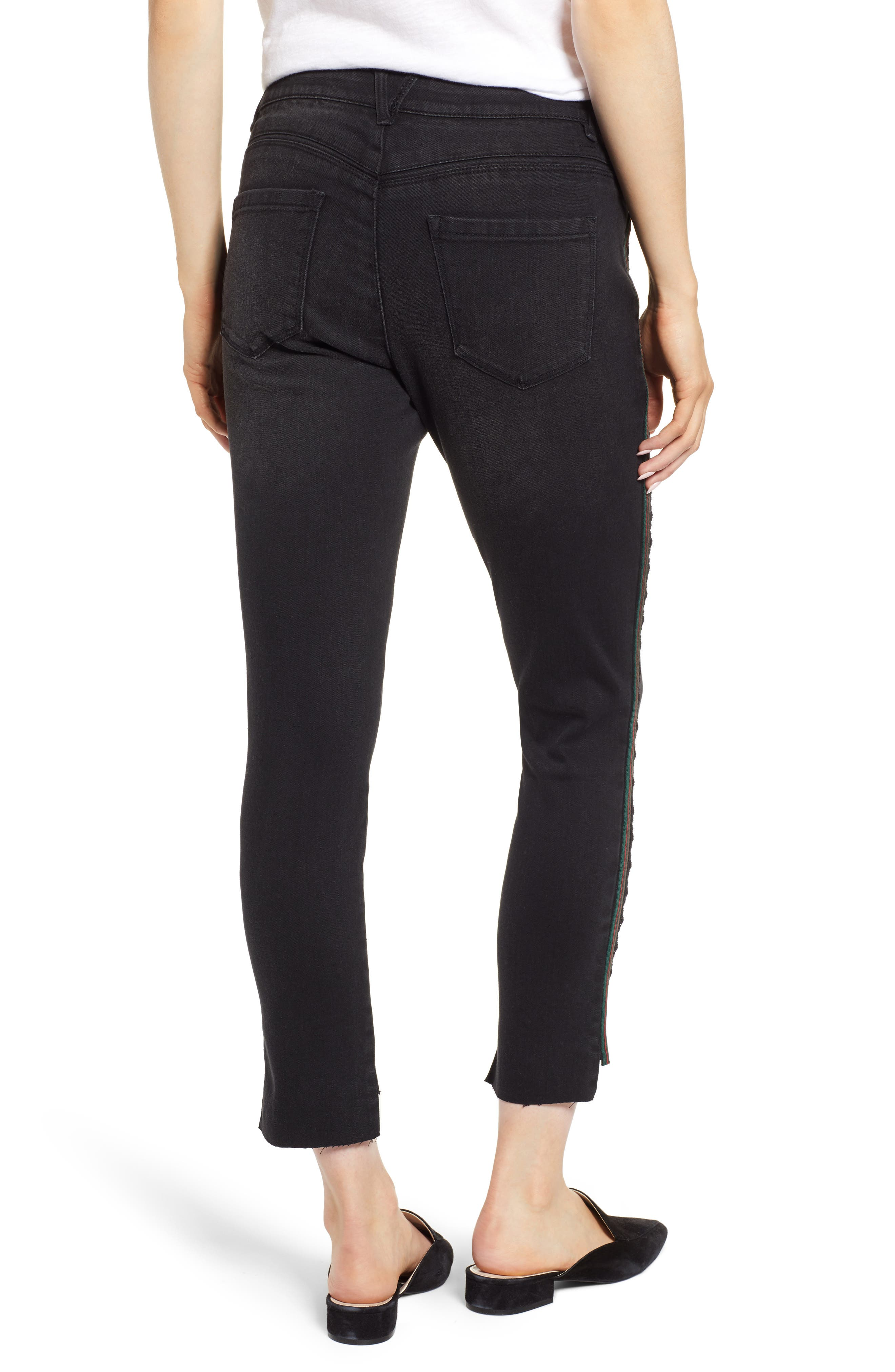 Ab-Solution Stripe High Waist Ankle Skinny Jeans,                             Alternate thumbnail 2, color,                             BLACK