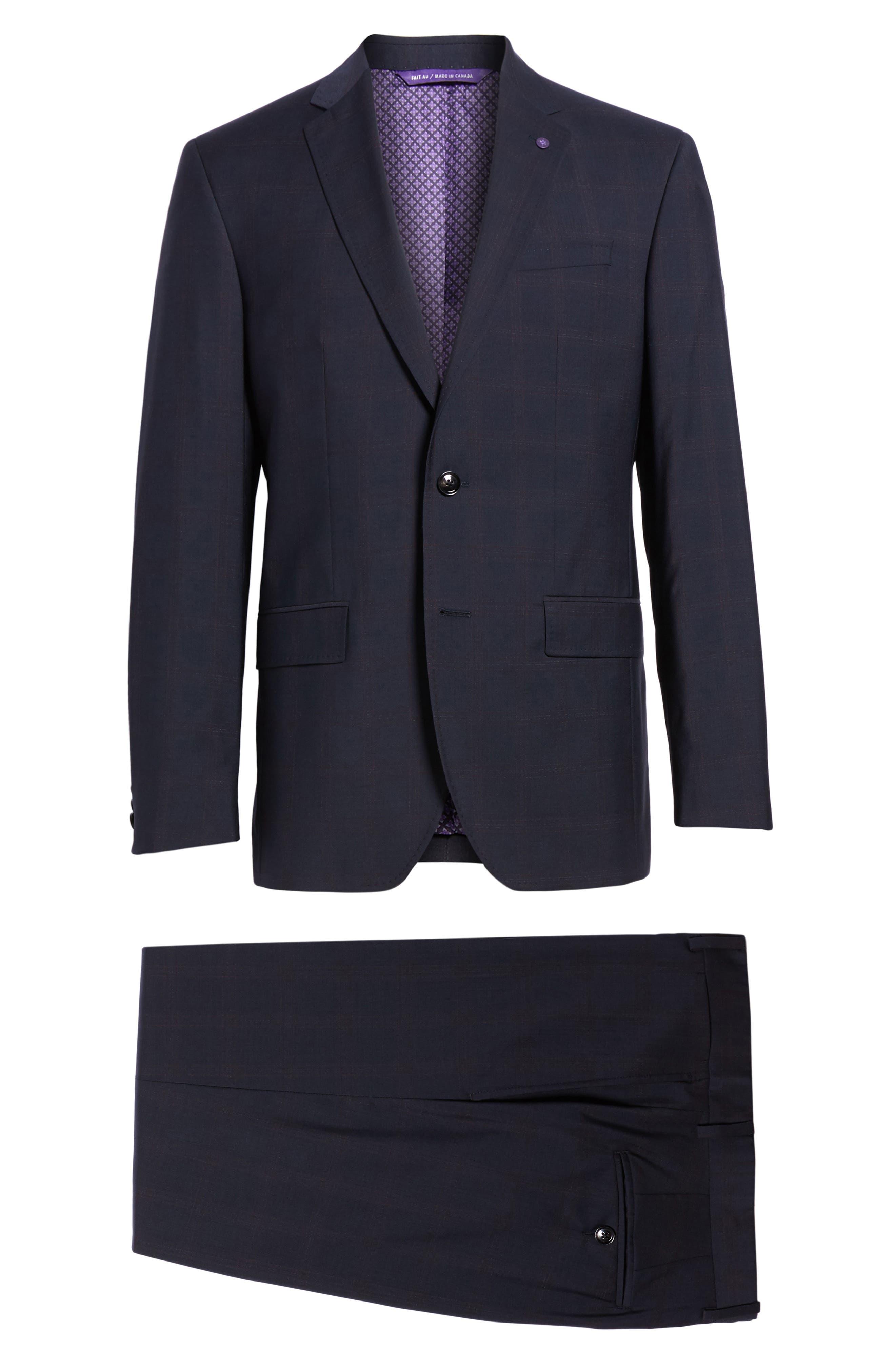 Jay Trim Fit Plaid Wool Suit,                             Alternate thumbnail 8, color,                             001