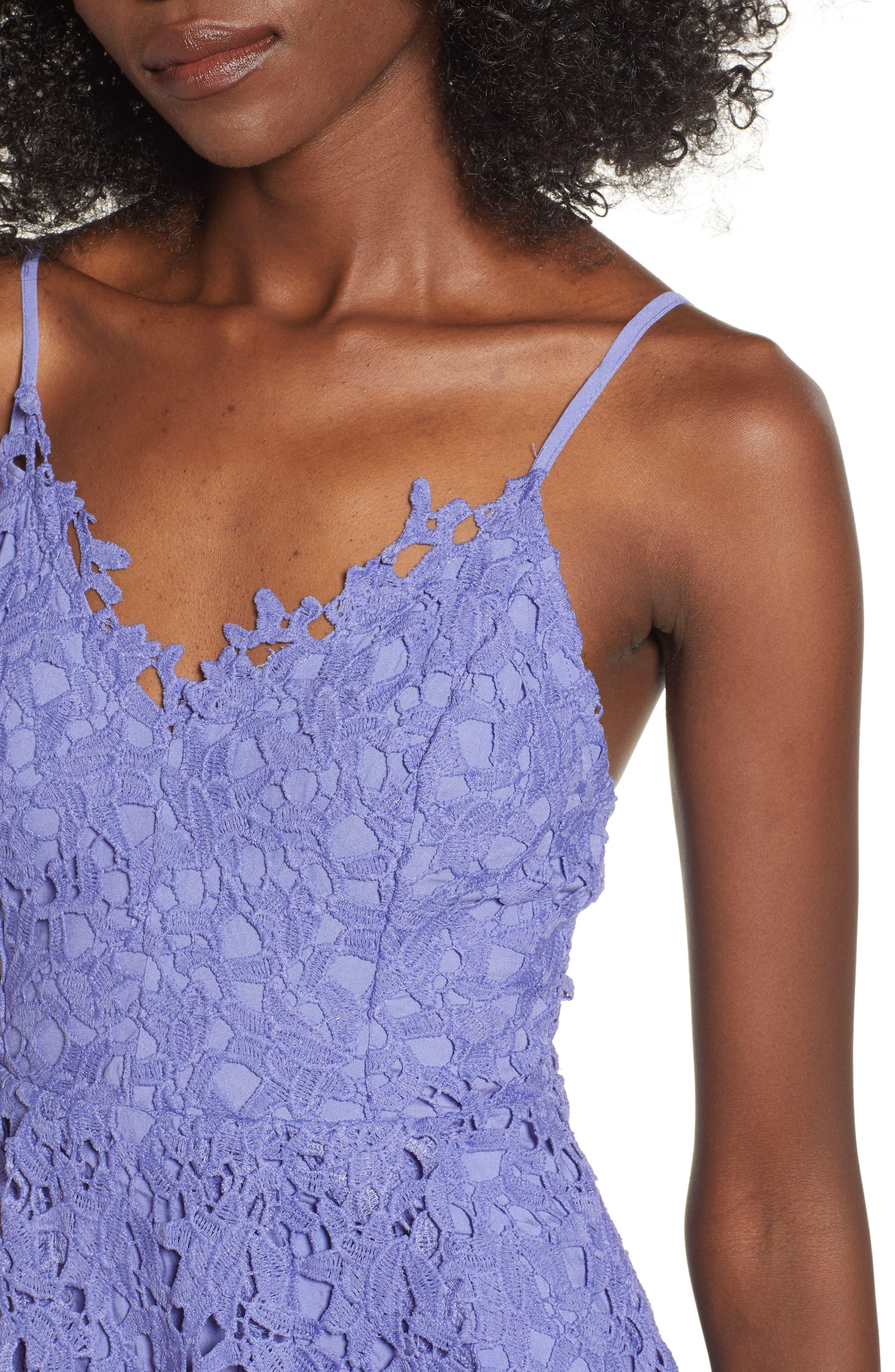Lace Midi Dress,                             Alternate thumbnail 4, color,                             PURPLE ORCHID