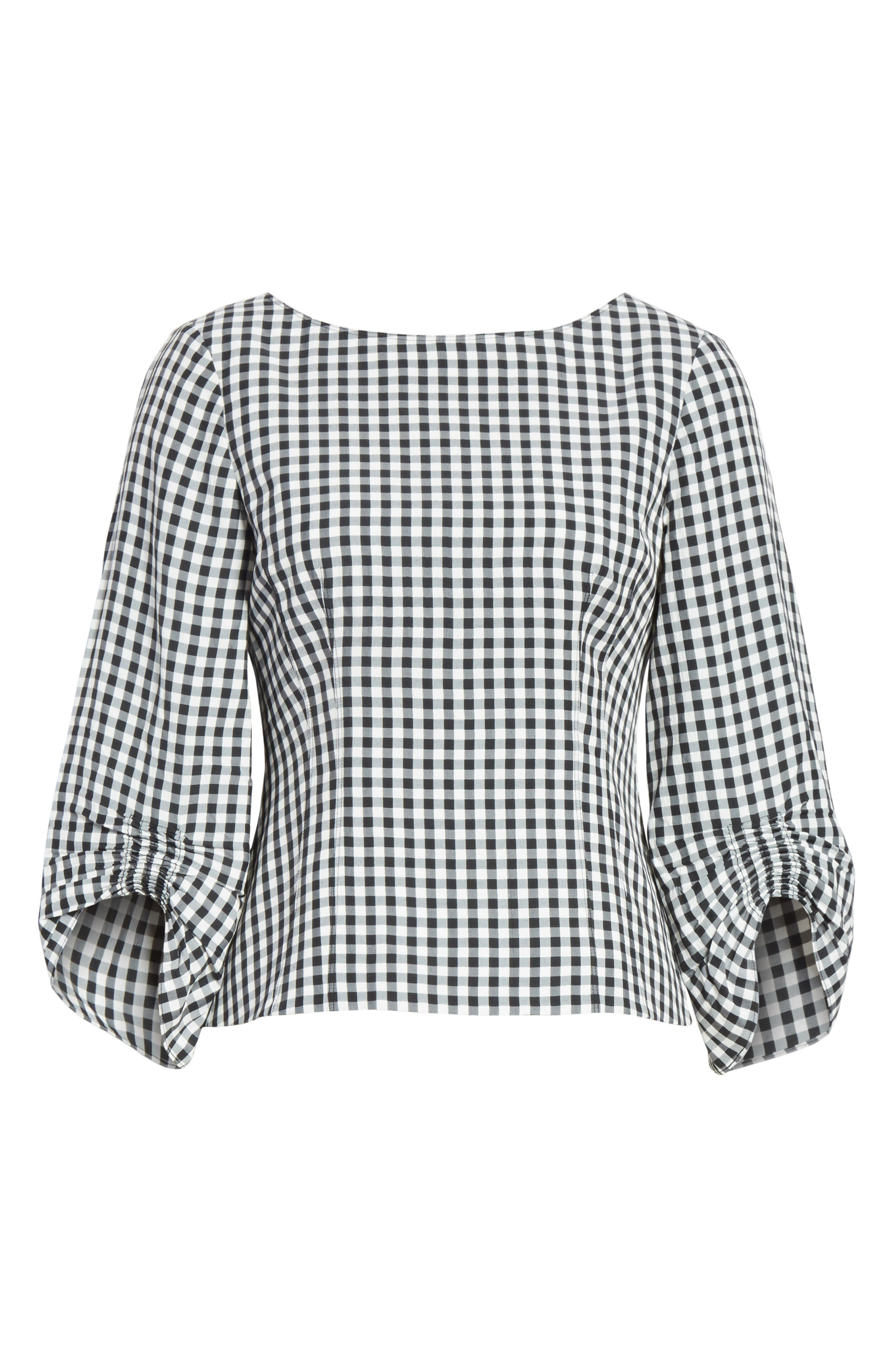 Gingham Corset Peplum Blouse,                             Alternate thumbnail 6, color,                             006