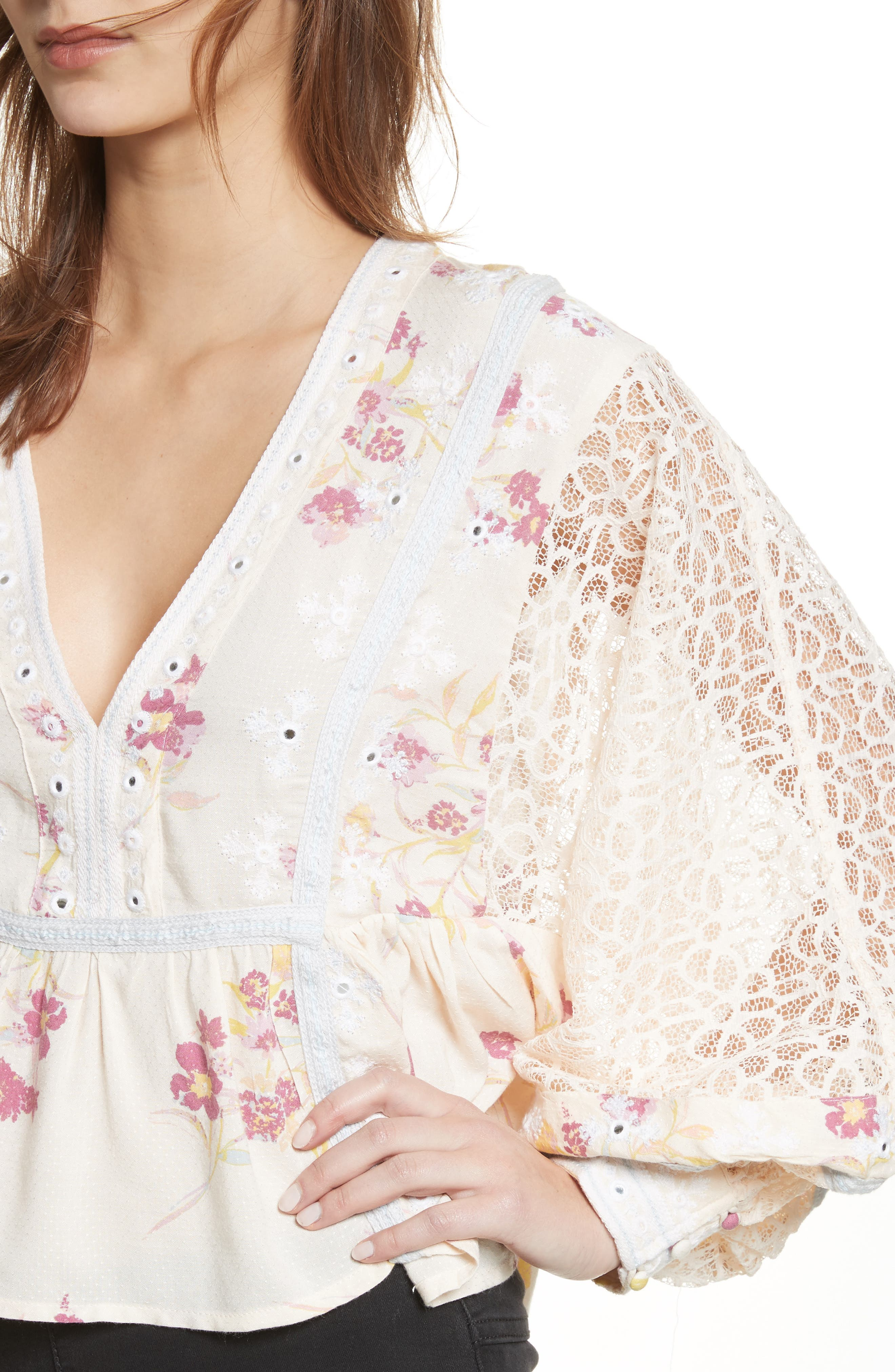 Boogie All Night Lace Sleeve Blouse,                             Alternate thumbnail 8, color,