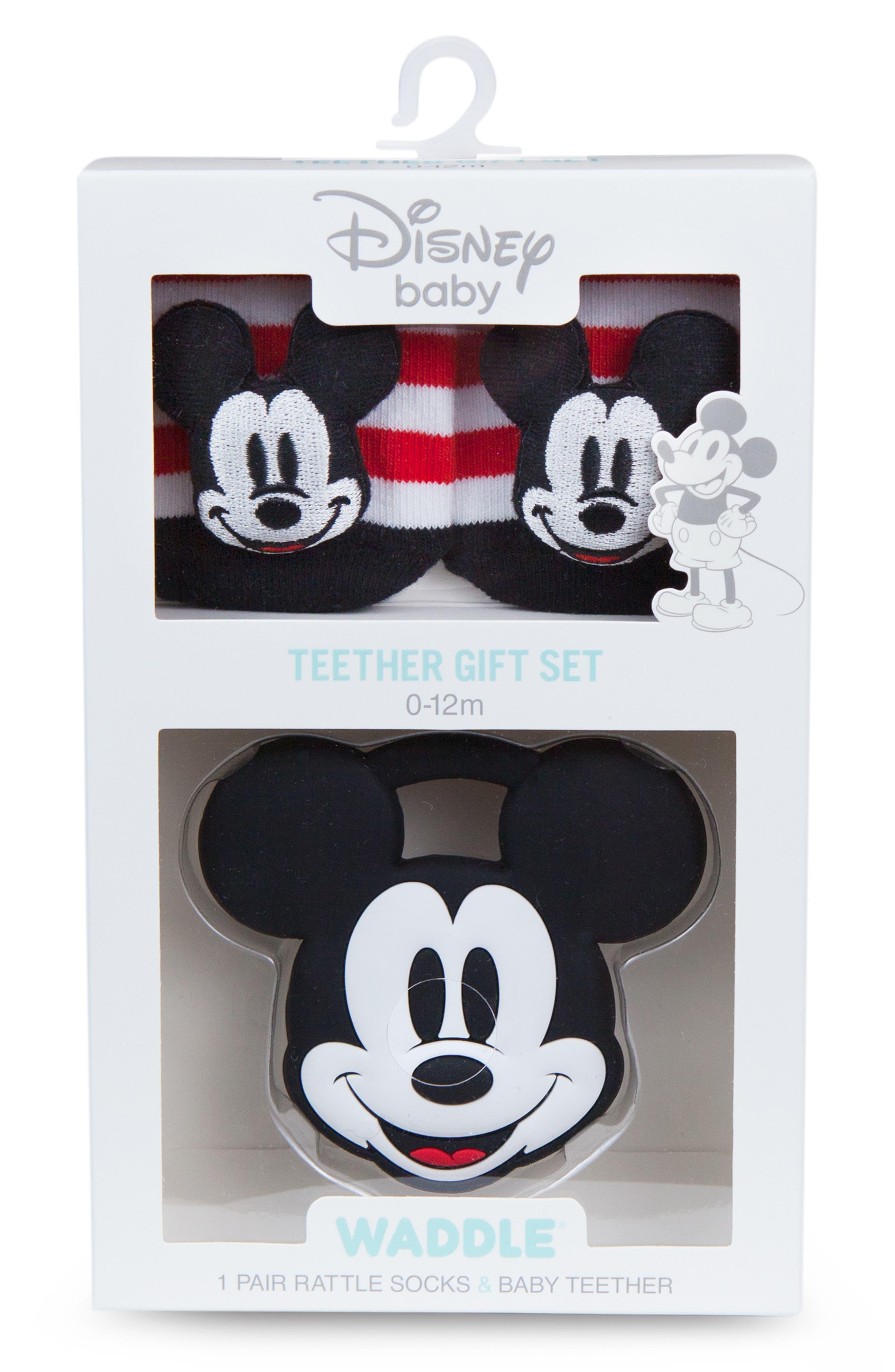 Disney Mickey Rattle Socks & Teether Gift Set,                             Main thumbnail 1, color,                             BLACK/ WHITE