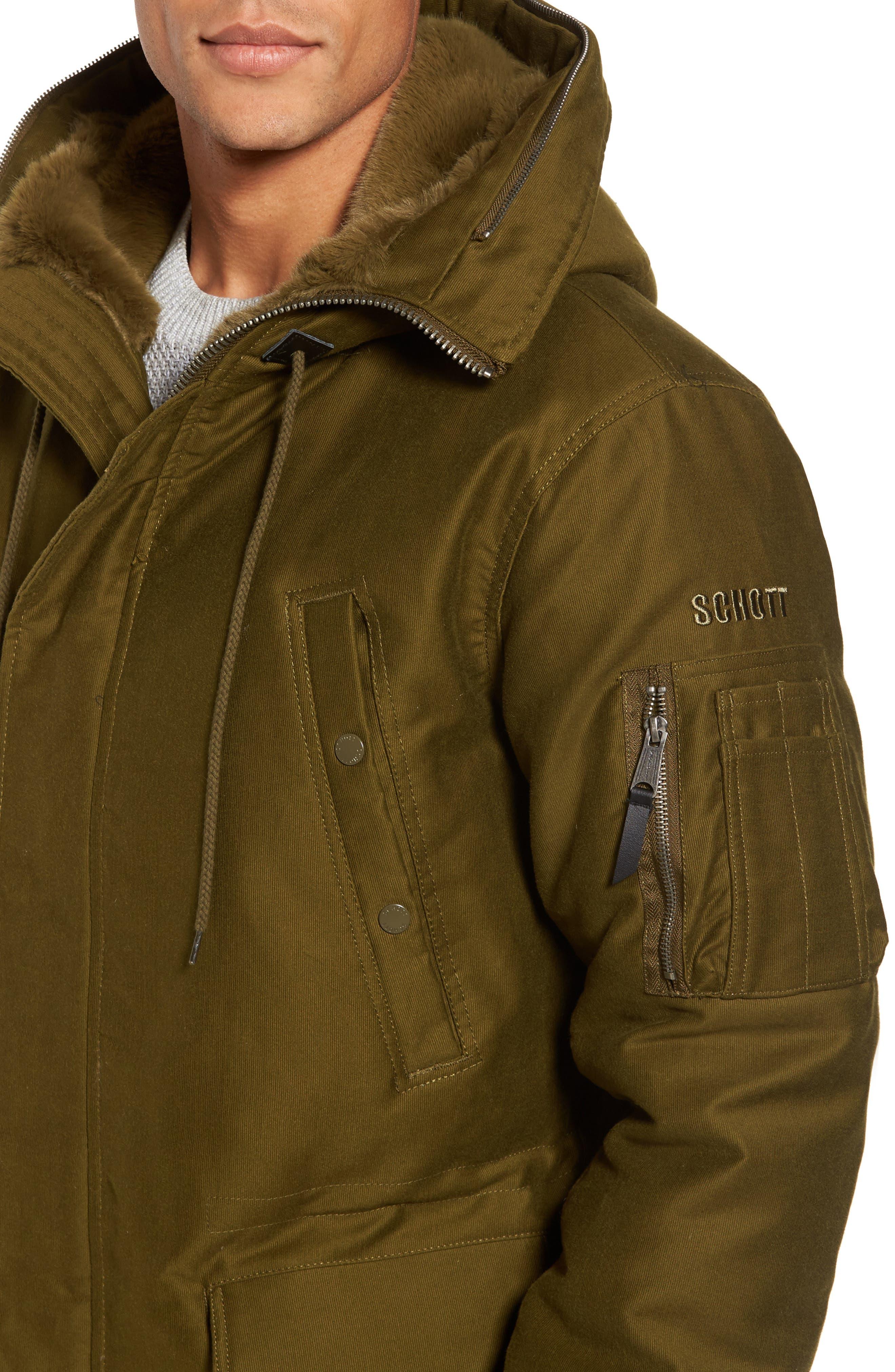 Bedford Corduroy Goose Down Jacket with Faux Fur Trim,                             Alternate thumbnail 4, color,                             352