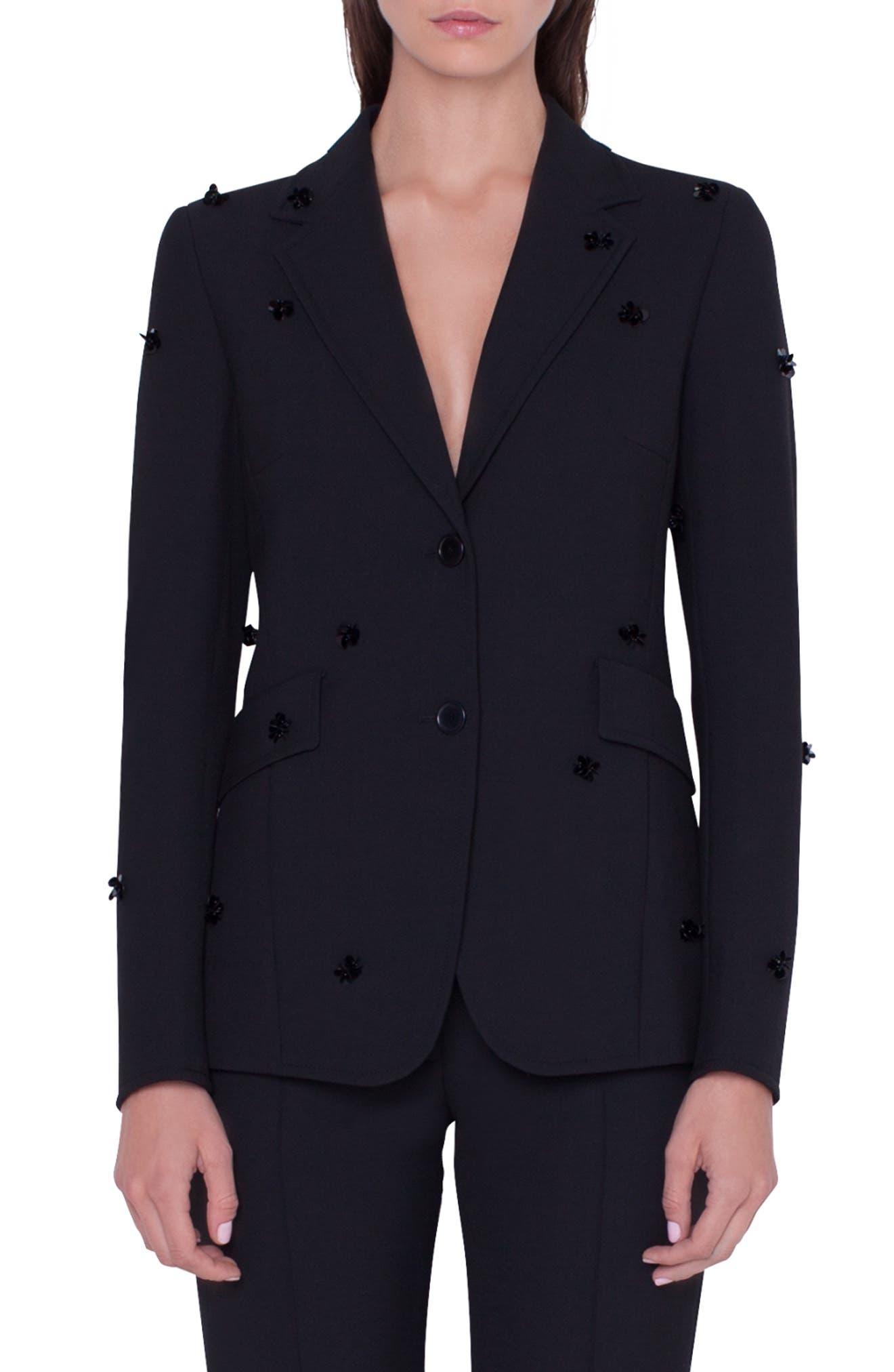 Sequined Blazer Jacket in Nero