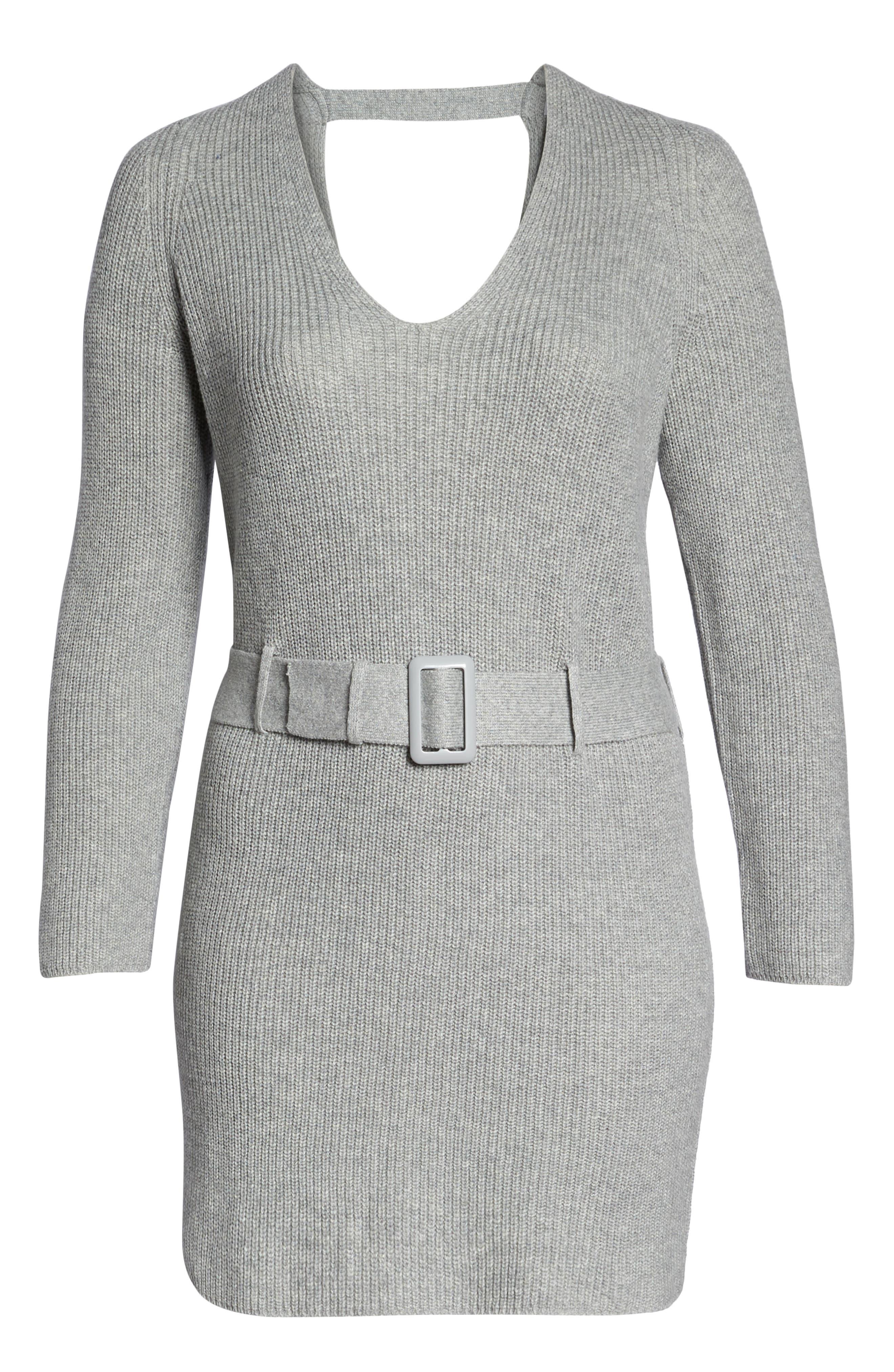 Belted Sweater Dress,                             Alternate thumbnail 7, color,                             GREY MEDIUM HEATHER