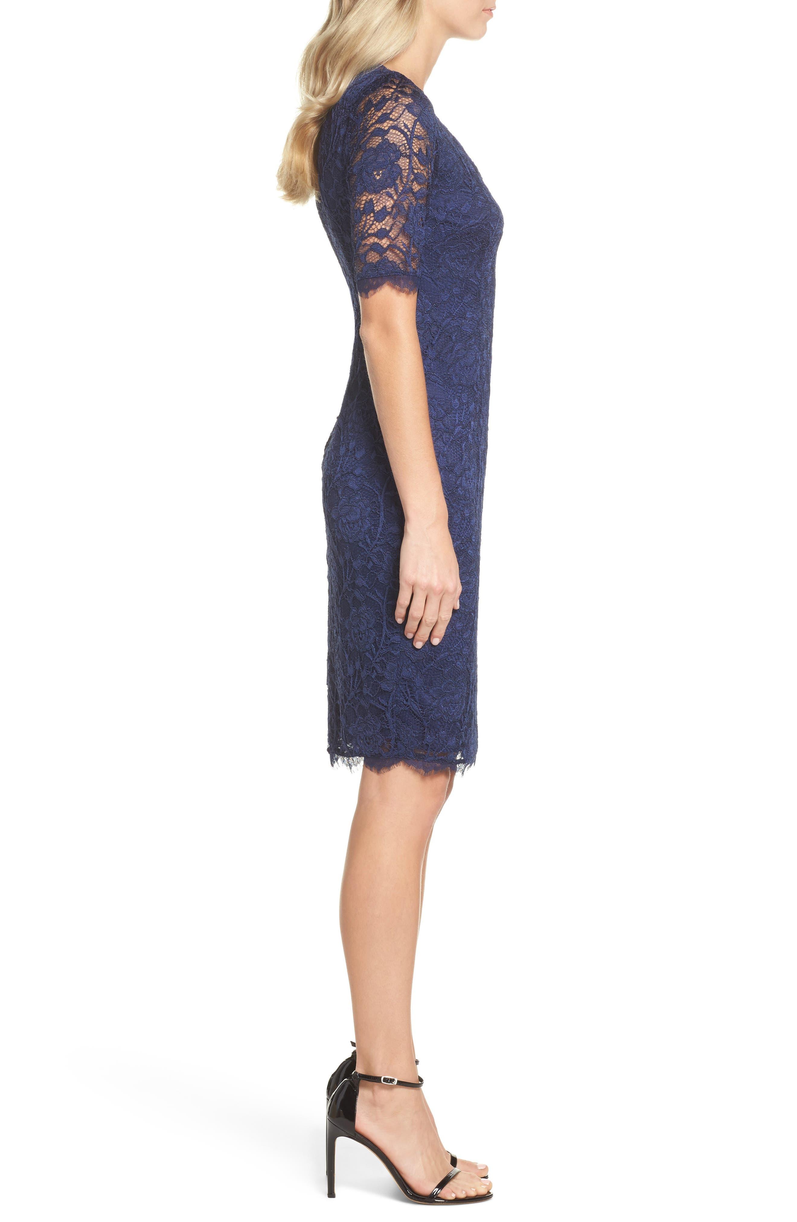 Rose Lace Sheath Dress,                             Alternate thumbnail 3, color,                             412