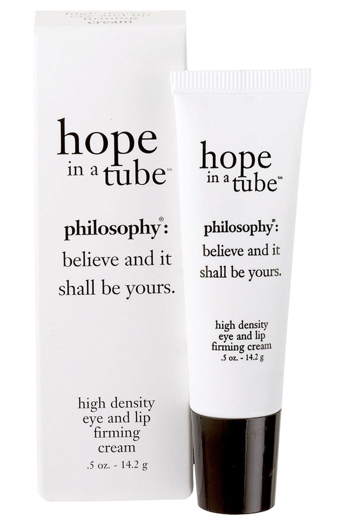 PHILOSOPHY,                             'hope in a tube' eye & lip contour cream,                             Main thumbnail 1, color,                             NO COLOR