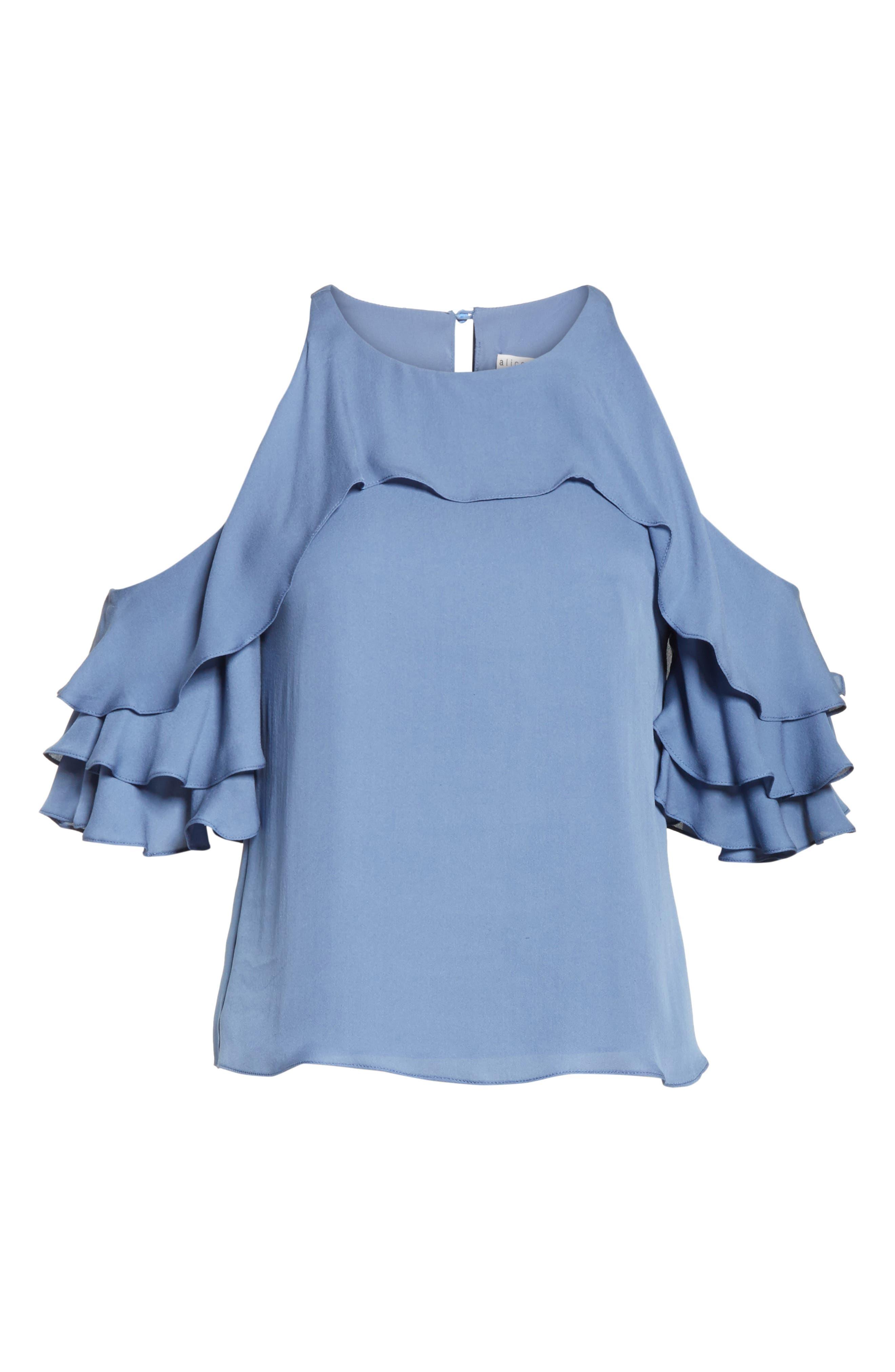 Idalla Cold Shoulder Ruffle Silk Blouse,                             Alternate thumbnail 6, color,                             401