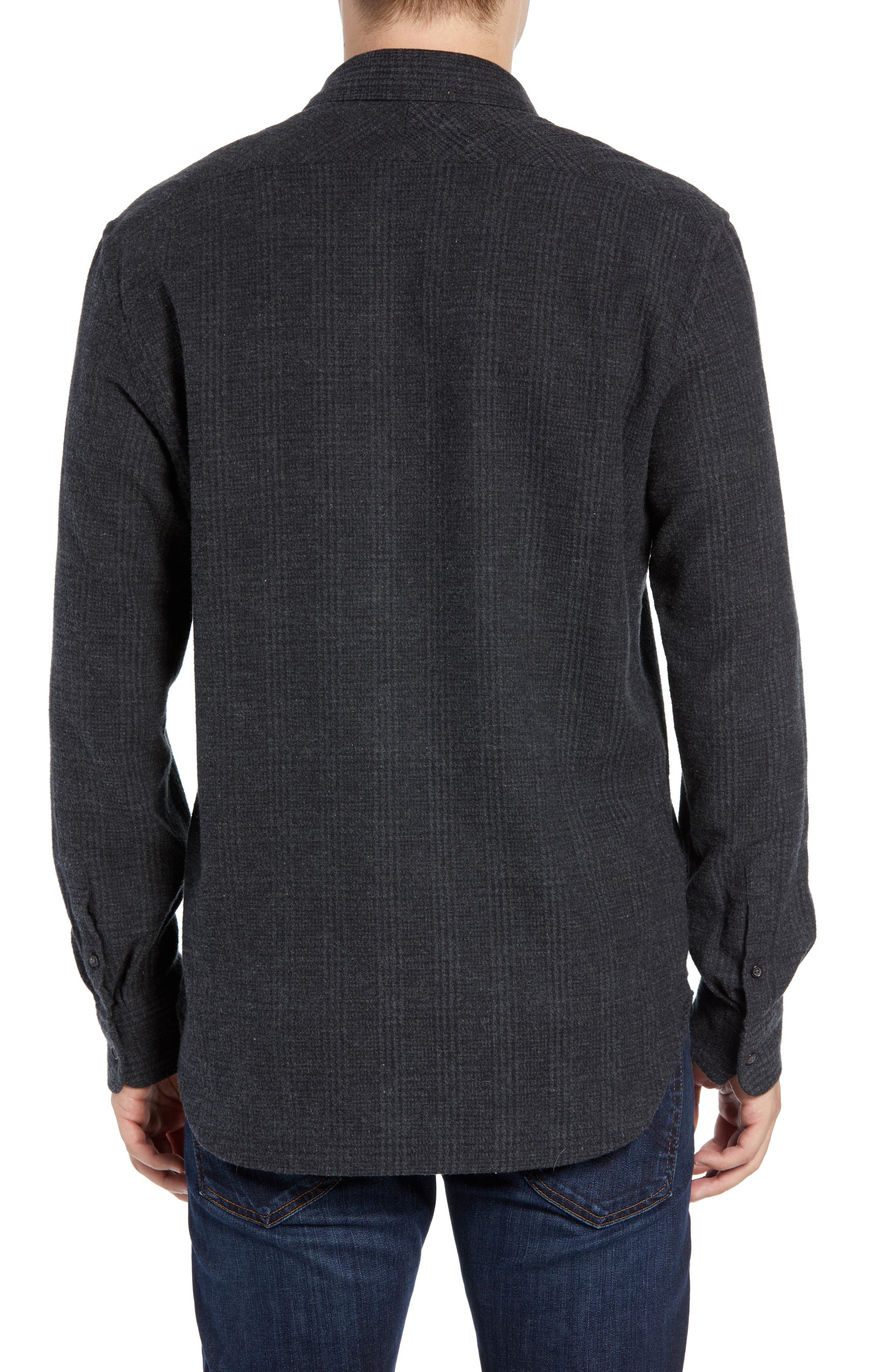 Walker Regular Fit Flannel Sport Shirt,                             Alternate thumbnail 2, color,                             CHARCOAL