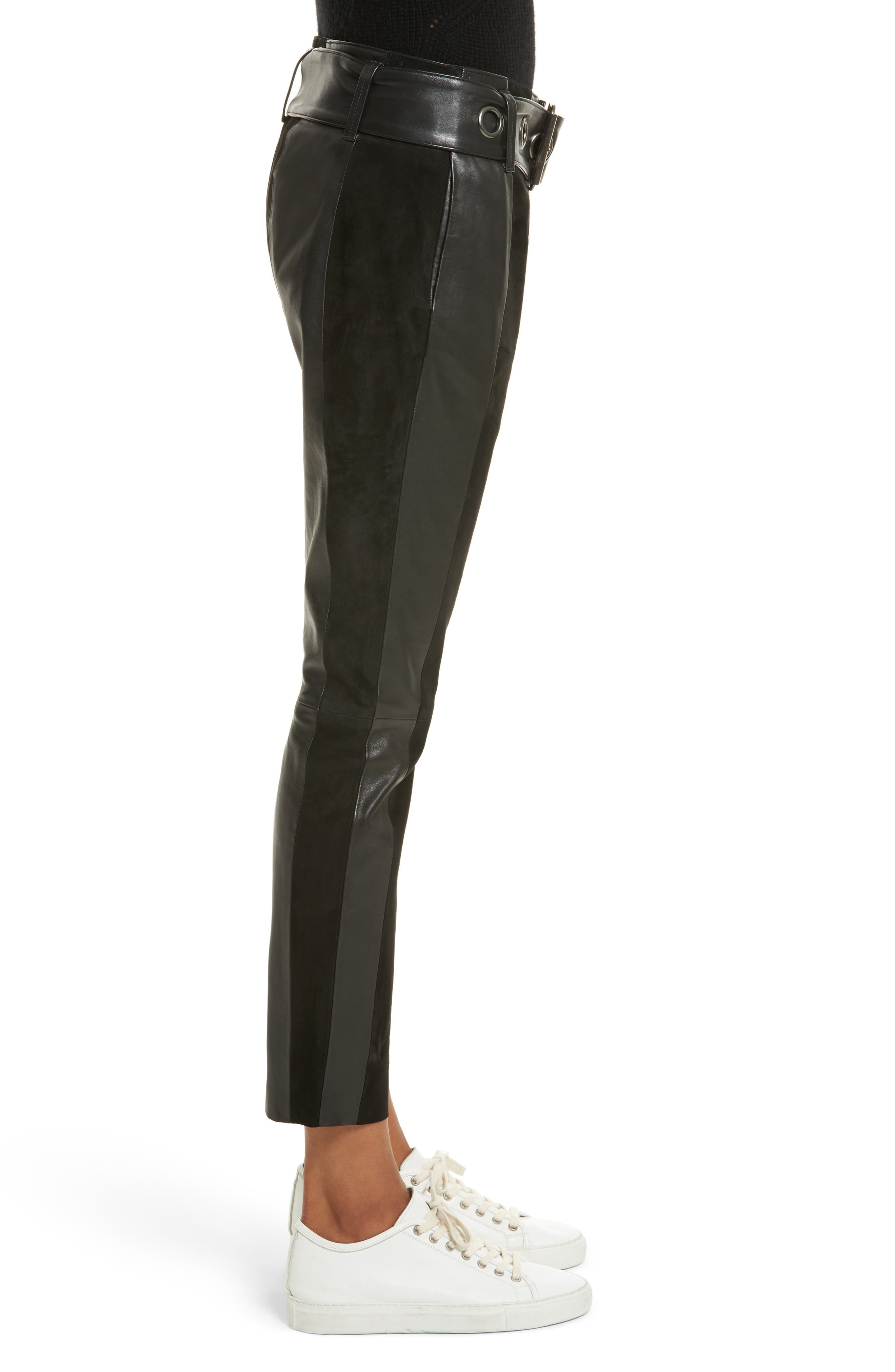 Paneled Suede & Leather Pants,                             Alternate thumbnail 3, color,                             001