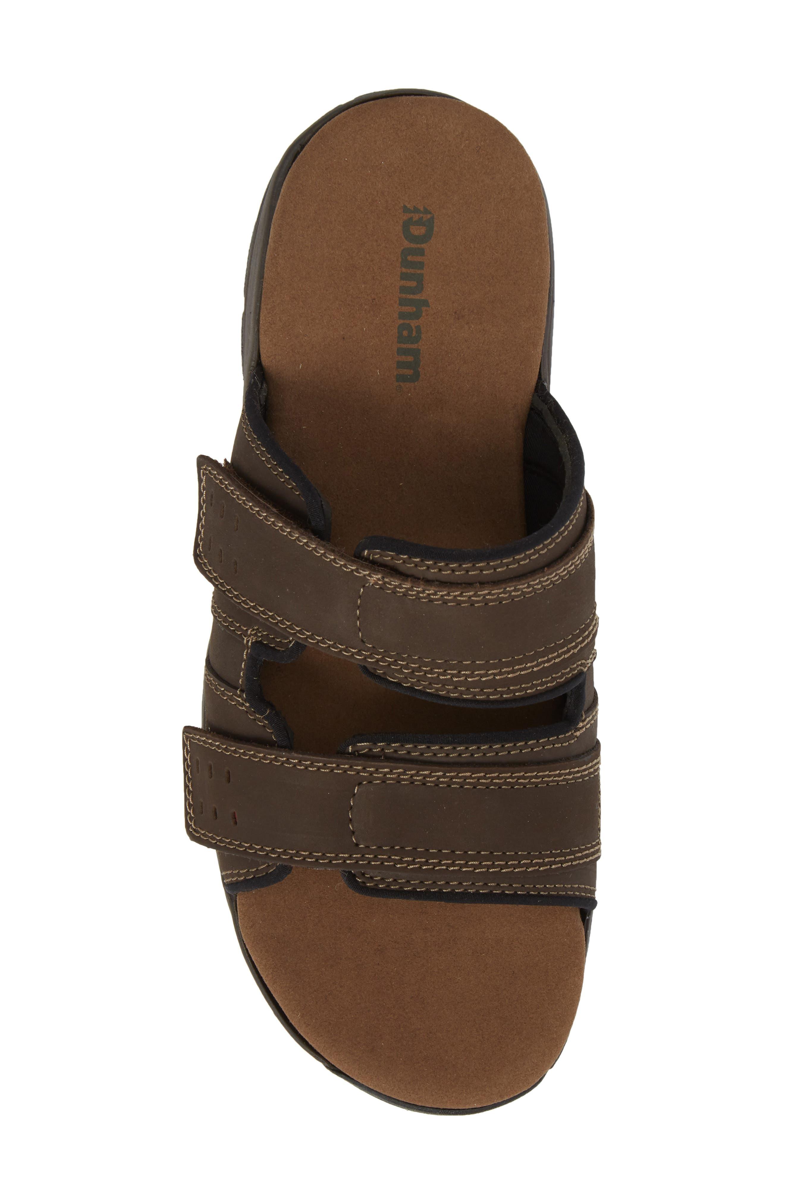 Newport Slide Sandal,                             Alternate thumbnail 5, color,                             DARK BROWN LEATHER