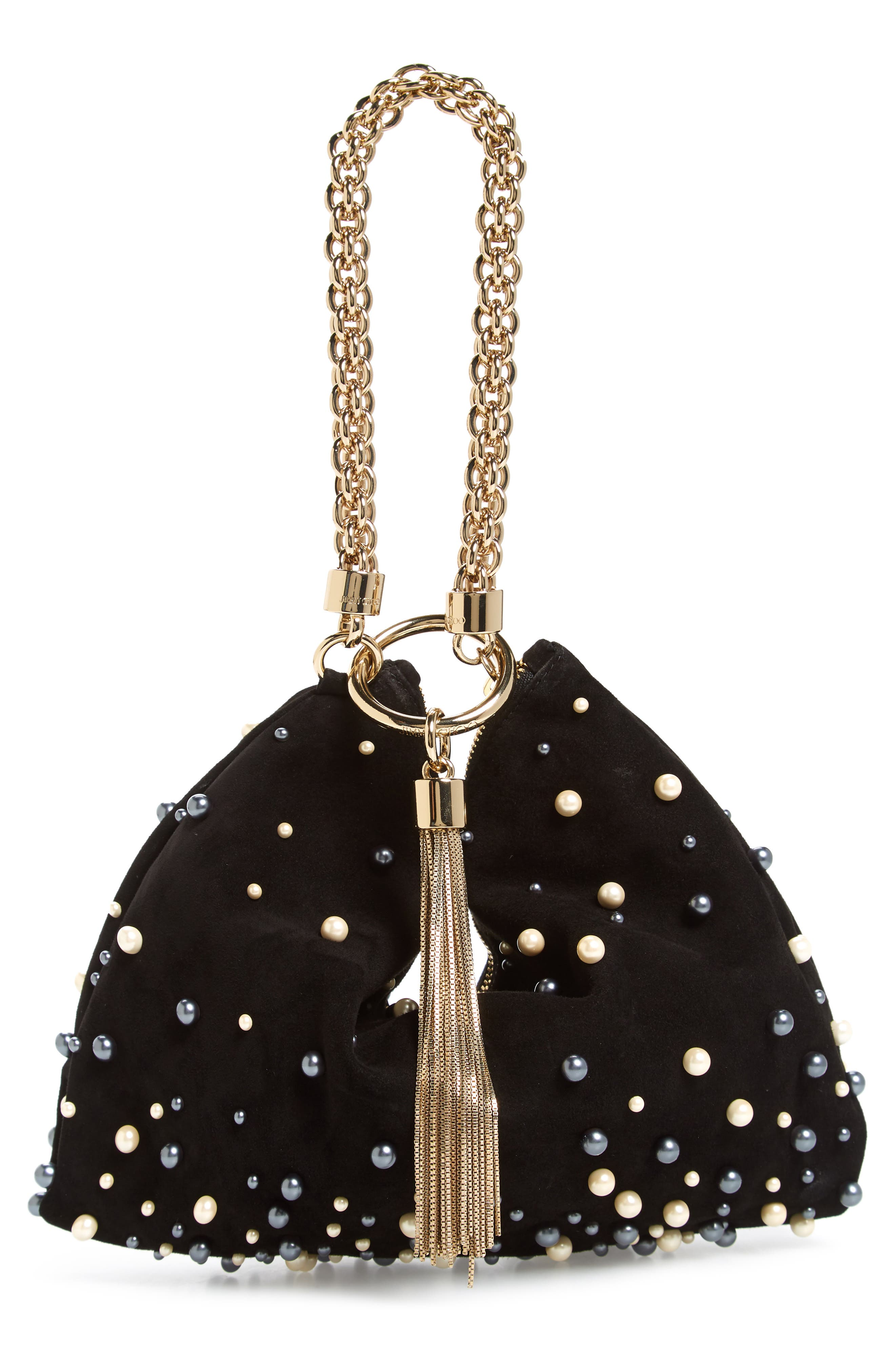 Callie Imitation Pearl Embellished Suede Clutch,                             Alternate thumbnail 3, color,                             001