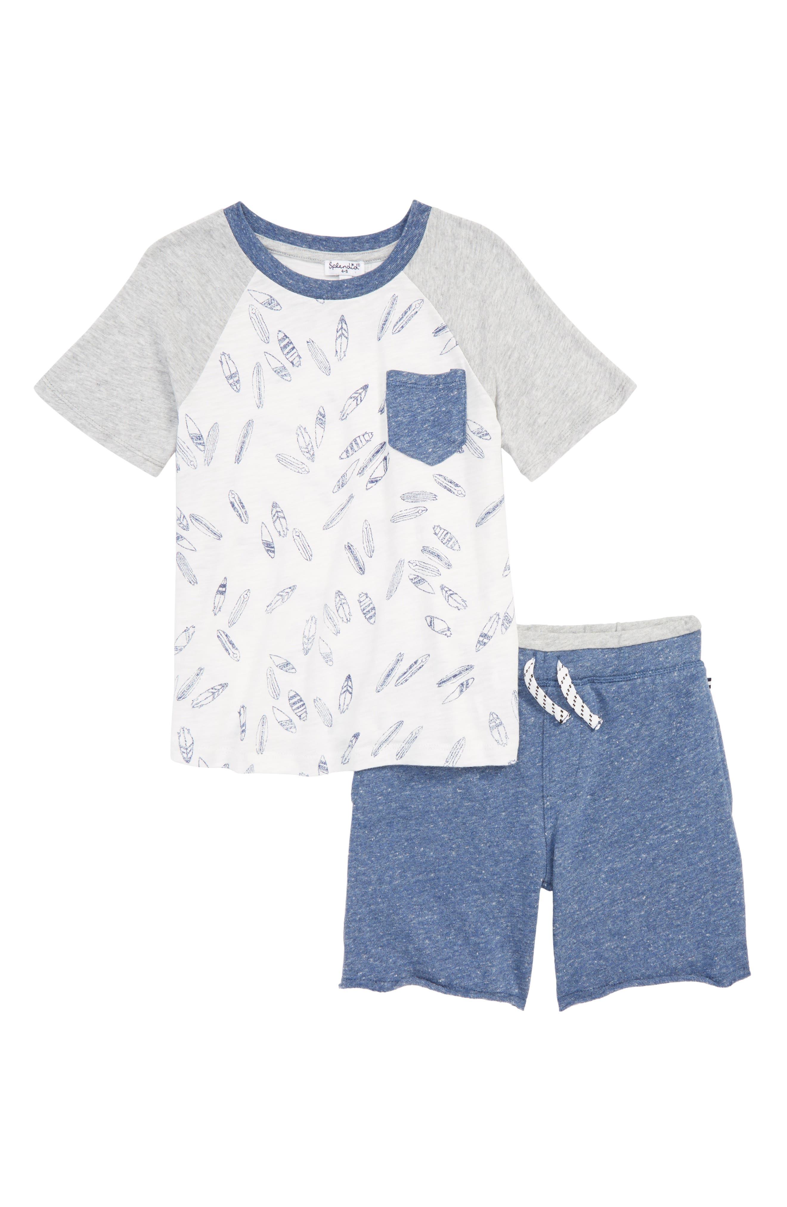 Surfboard T-Shirt & Shorts Set,                             Main thumbnail 1, color,