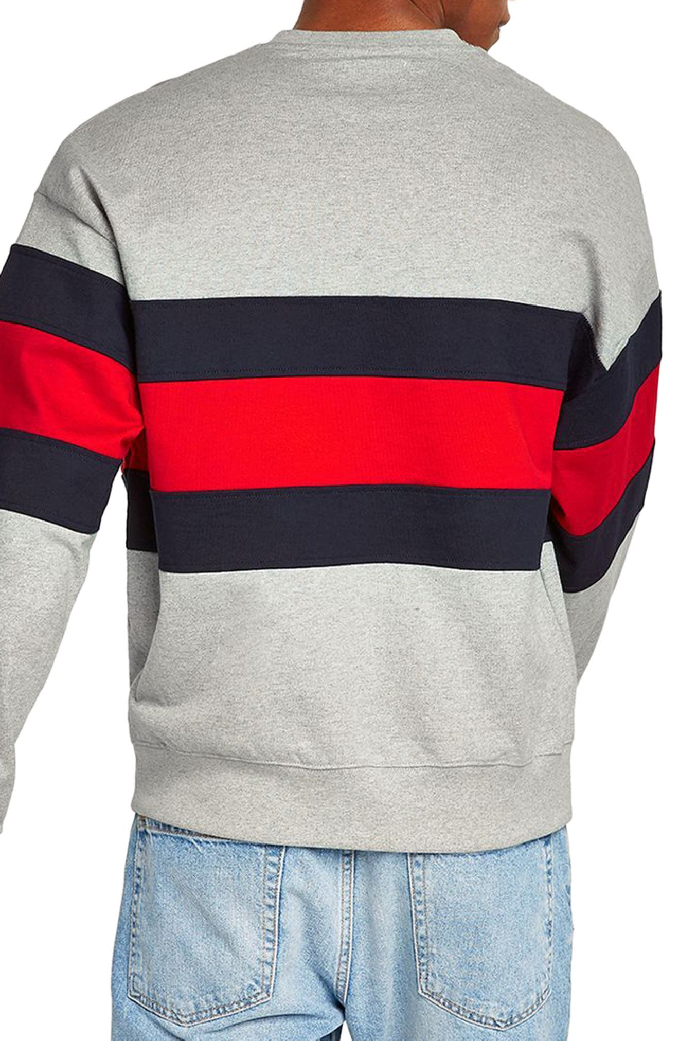 Classic Fit Striped Sweatshirt,                             Alternate thumbnail 2, color,                             LIGHT GREY MULTI