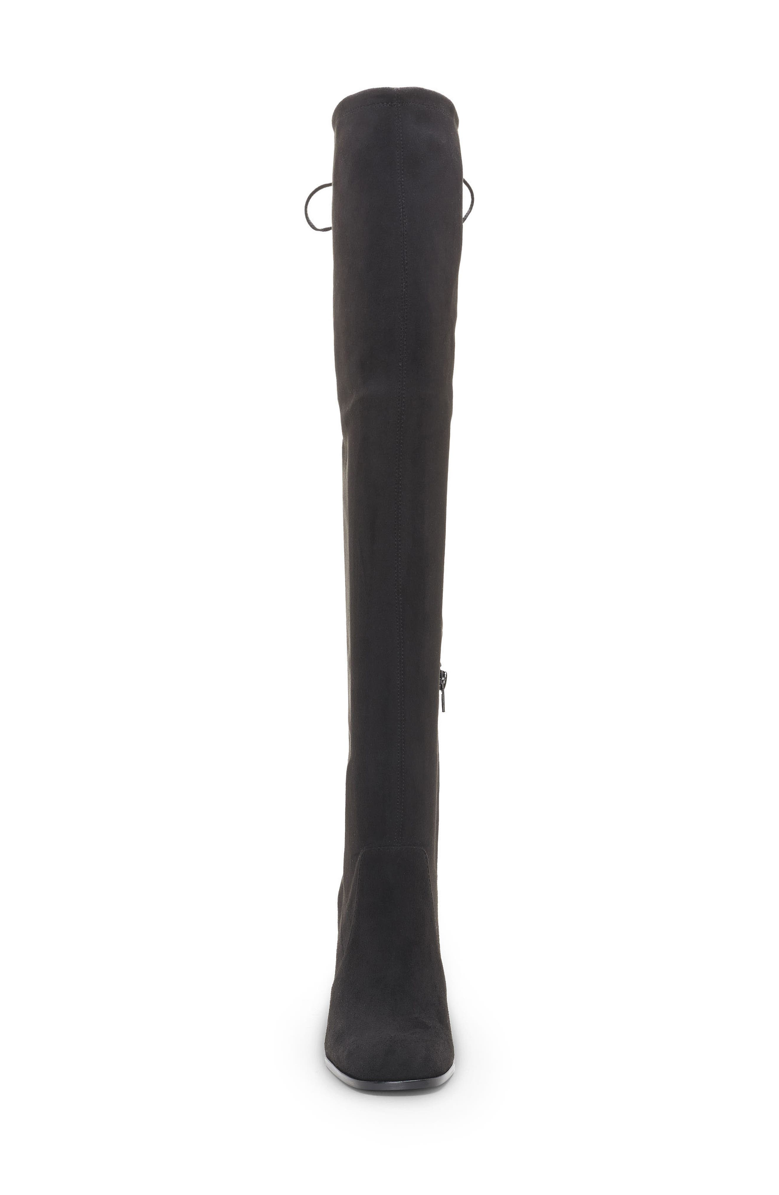 Marline Thigh High Boot,                             Alternate thumbnail 4, color,                             BLACK SUEDE