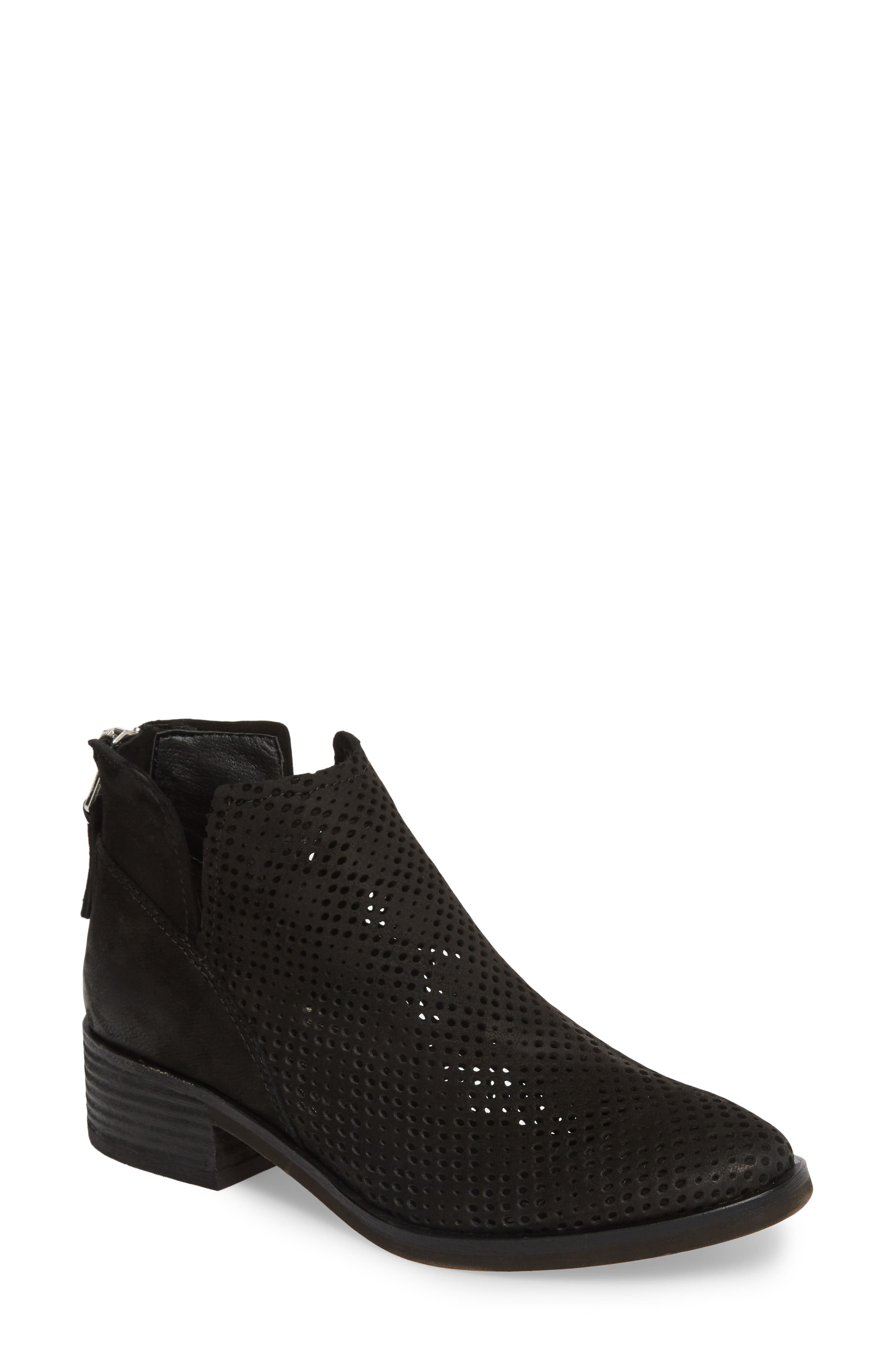 Tommi Perforated Bootie,                             Main thumbnail 1, color,                             BLACK NUBUCK
