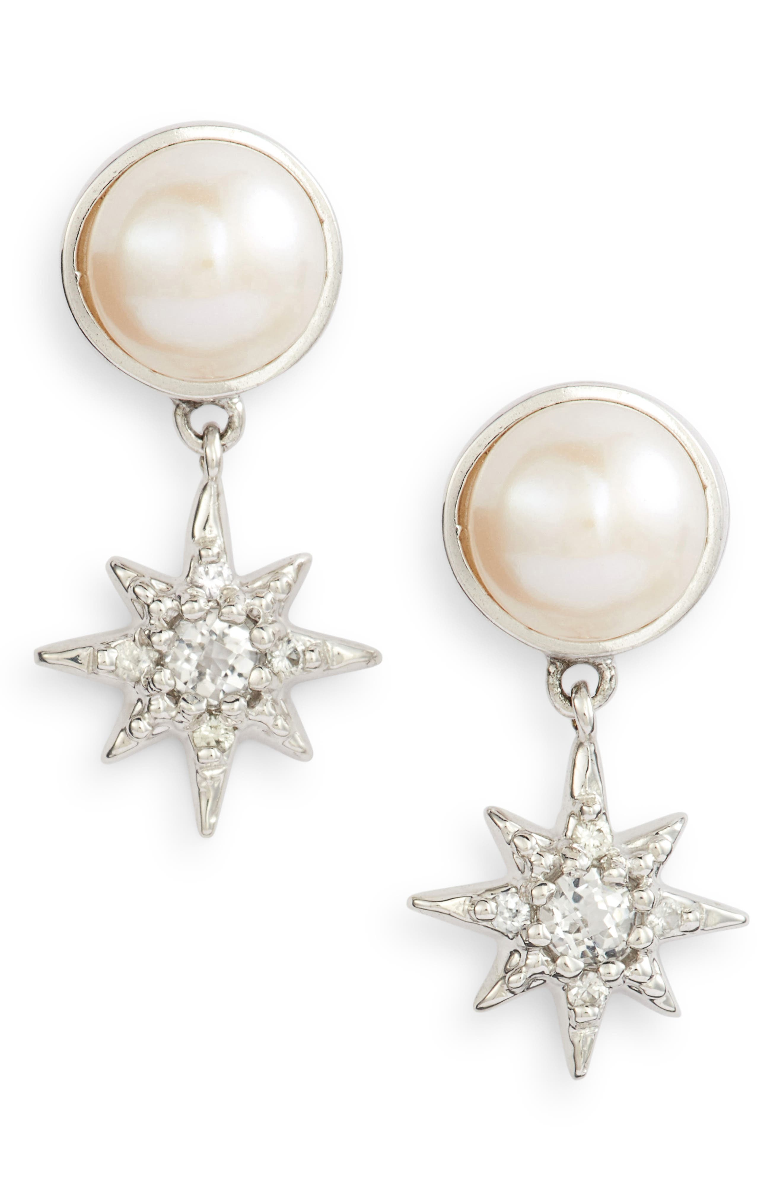 Micro Aztec Starburst Mabé Pearl & Topaz Drop Earrings, Main, color, WHITE TOPAZ