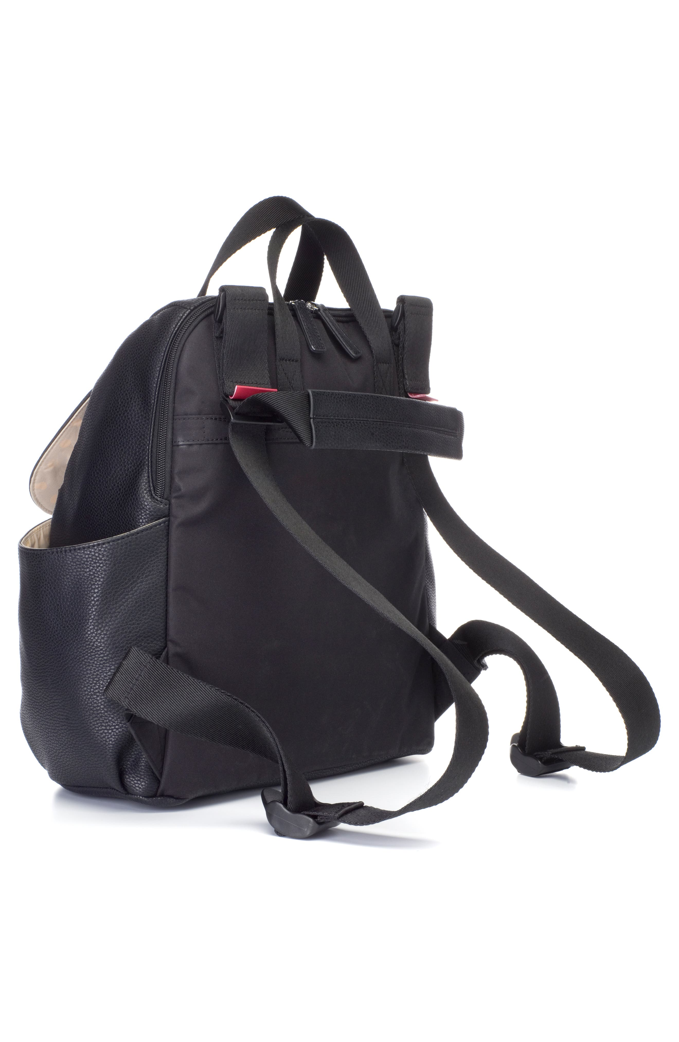 Robyn Convertible Faux Leather Diaper Backpack,                             Alternate thumbnail 5, color,                             BLACK