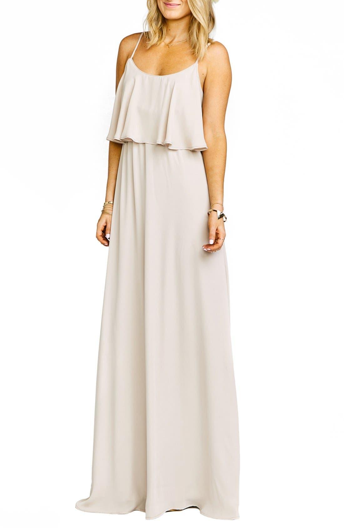 Caitlin Cold Shoulder Chiffon Gown,                             Alternate thumbnail 46, color,