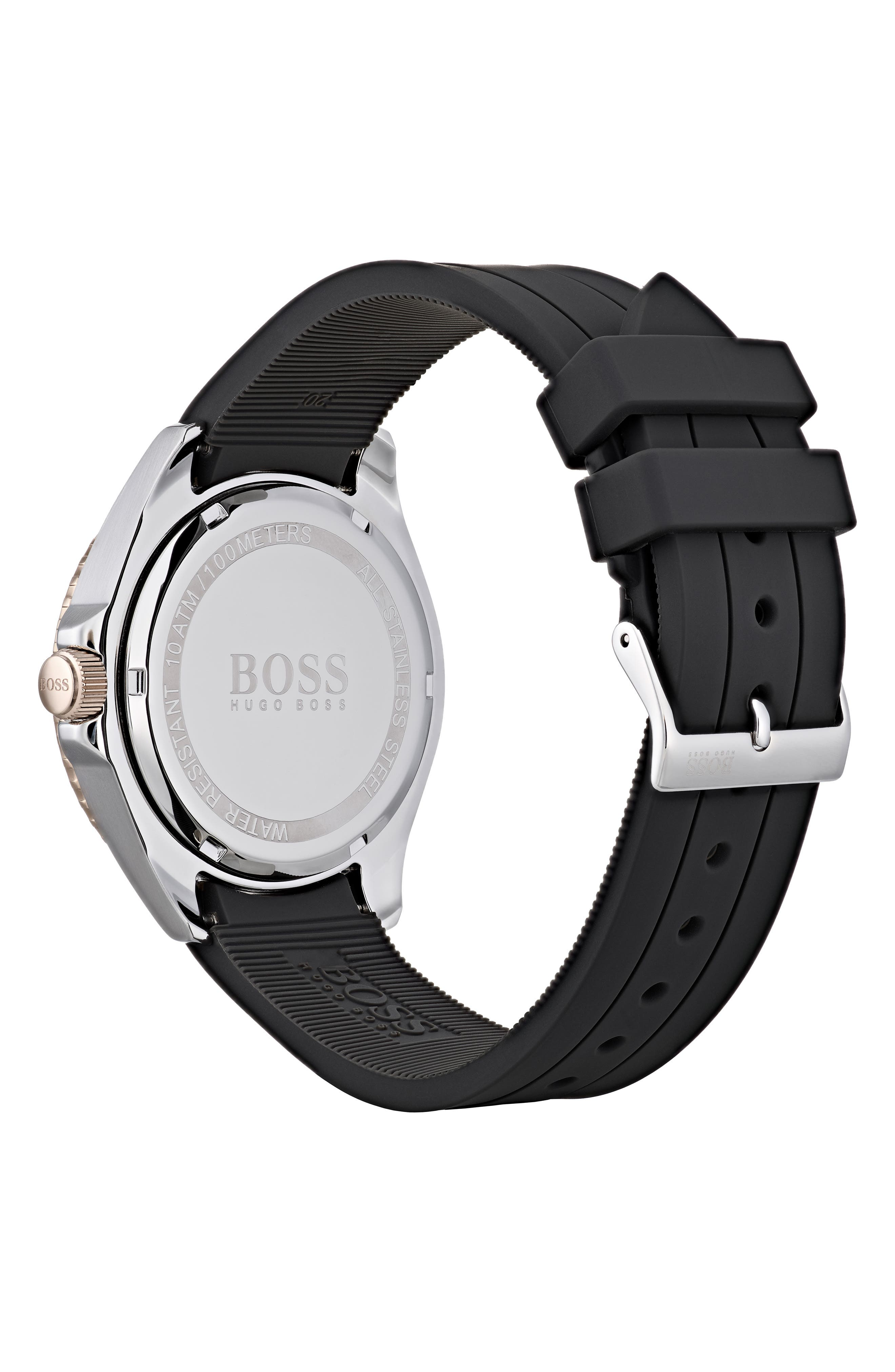 Ocean Rubber Strap Watch, 40mm,                             Alternate thumbnail 2, color,                             GREY/ BLACK