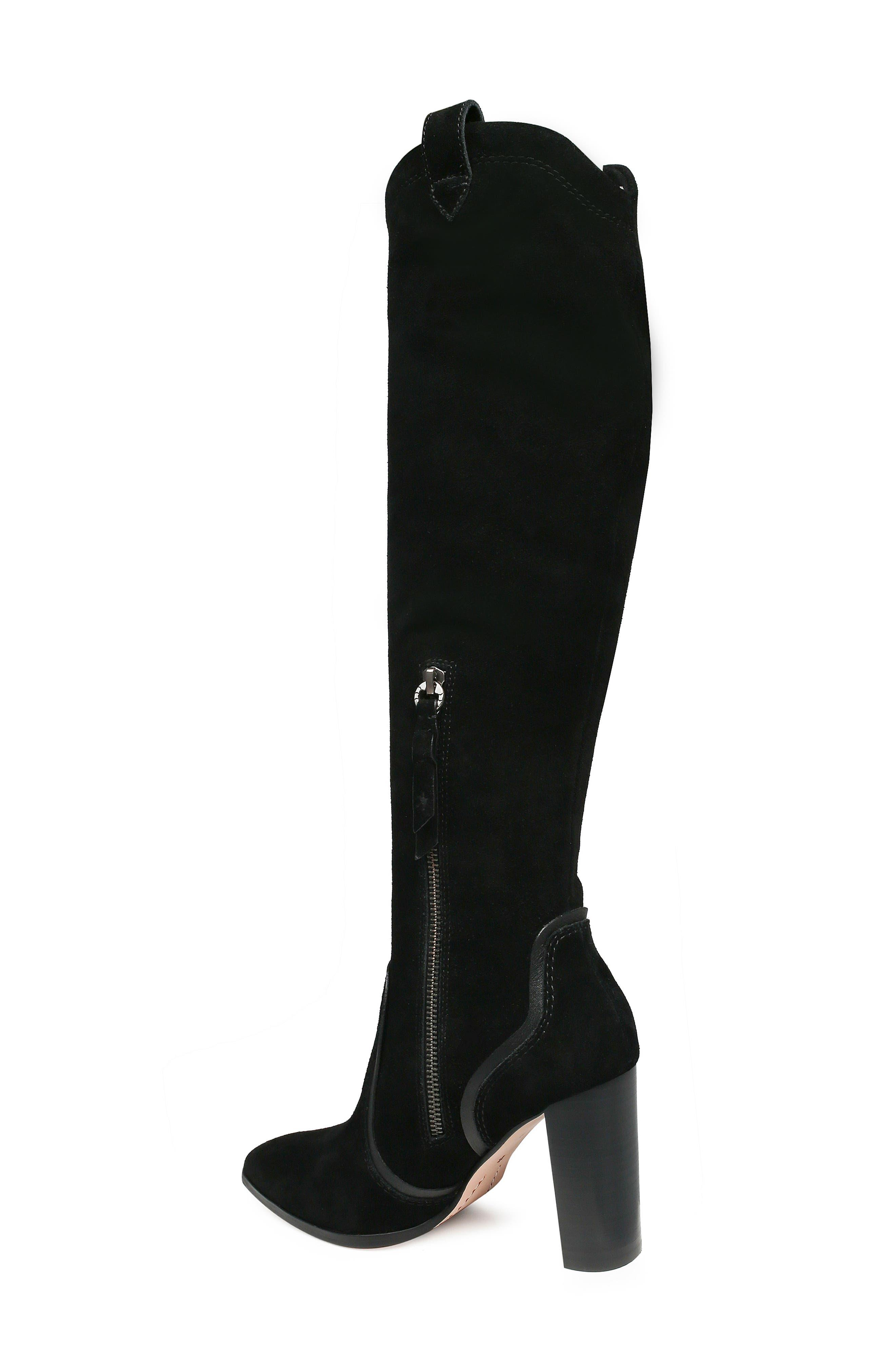 Caren Knee High Boot,                             Alternate thumbnail 2, color,                             BLACK SUEDE