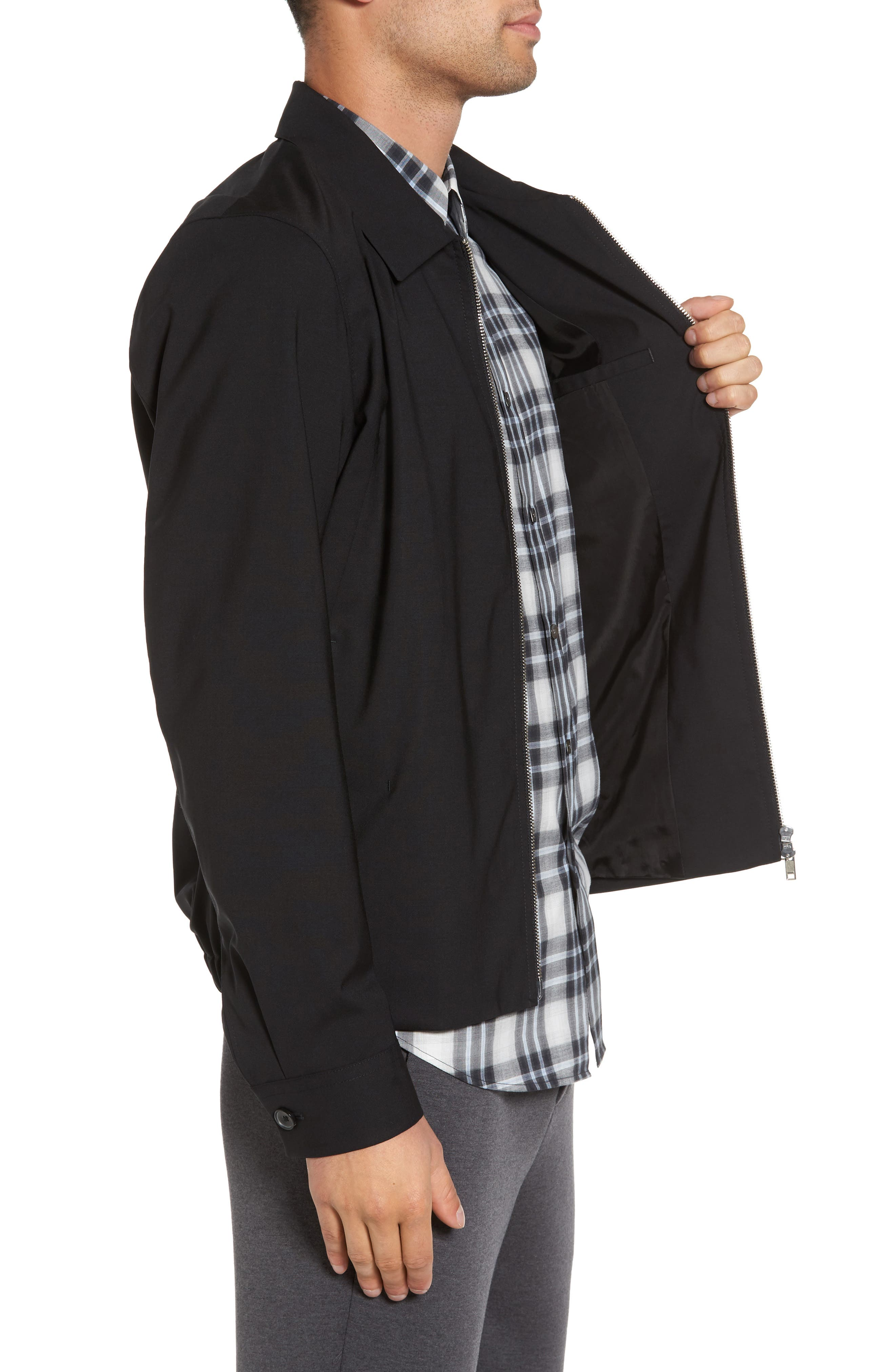Stretch Wool Zip Front Jacket,                             Alternate thumbnail 3, color,                             001