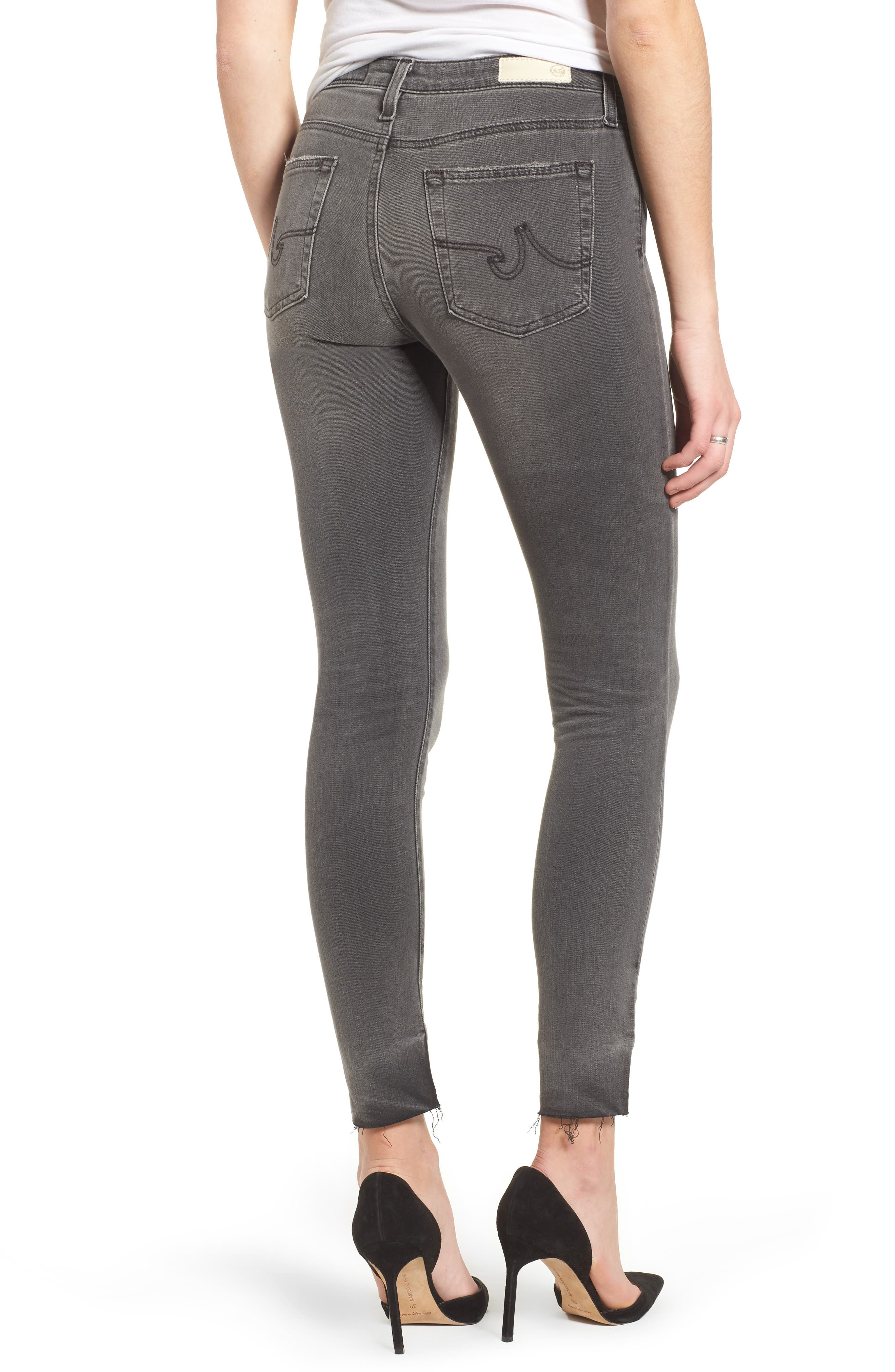 The Farrah High Waist Raw Hem Skinny Jeans,                             Alternate thumbnail 2, color,                             001