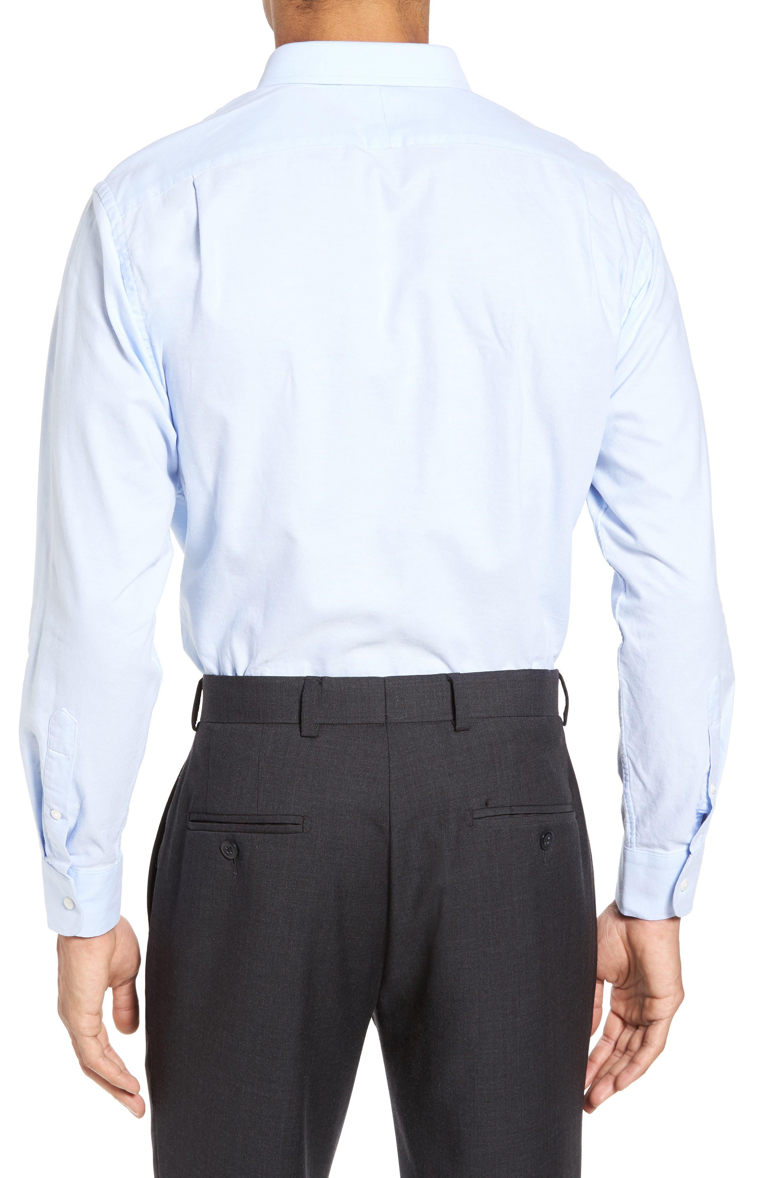 Trim Fit Solid Oxford Dress Shirt,                             Alternate thumbnail 7, color,