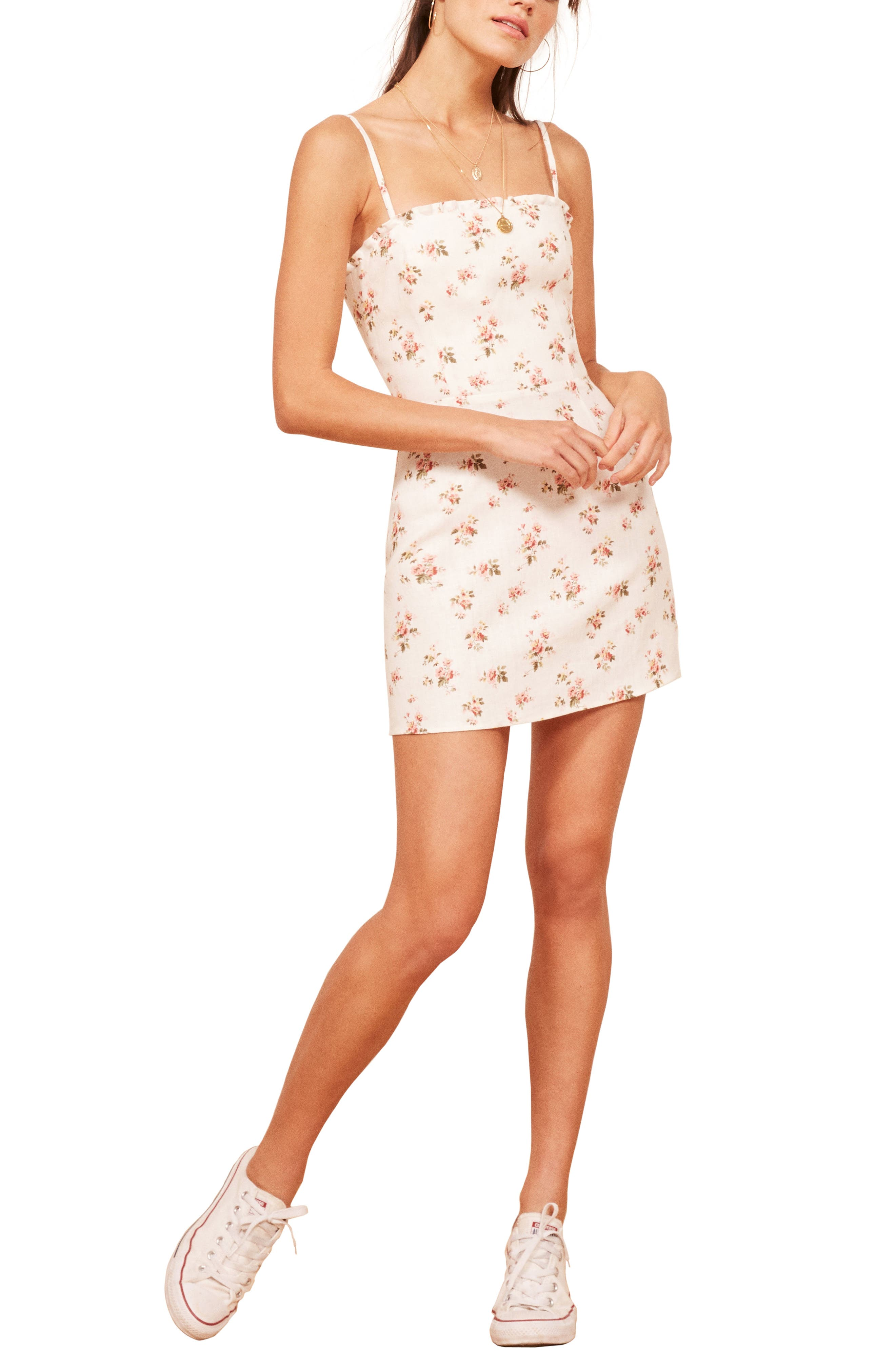 Ava Ruffle Linen Minidress,                         Main,                         color, 100