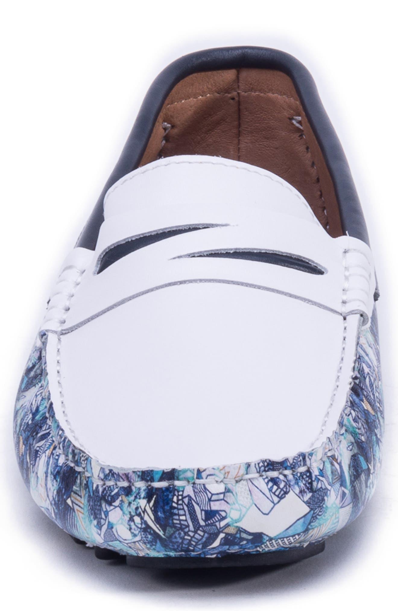 Doggerland Driving Shoe,                             Alternate thumbnail 4, color,                             WHITE LEATHER