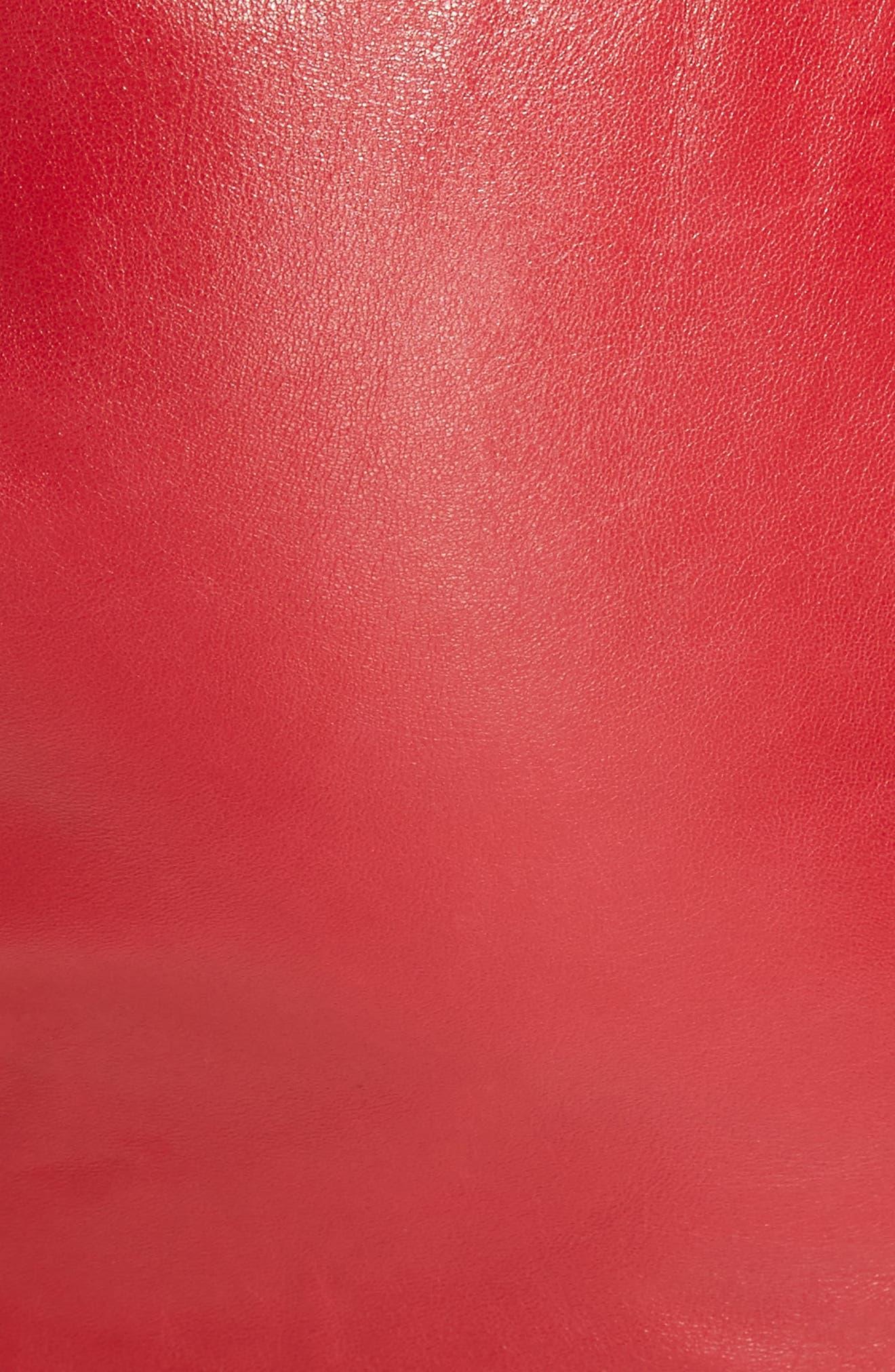 Ruffle Leather Miniskirt,                             Alternate thumbnail 5, color,