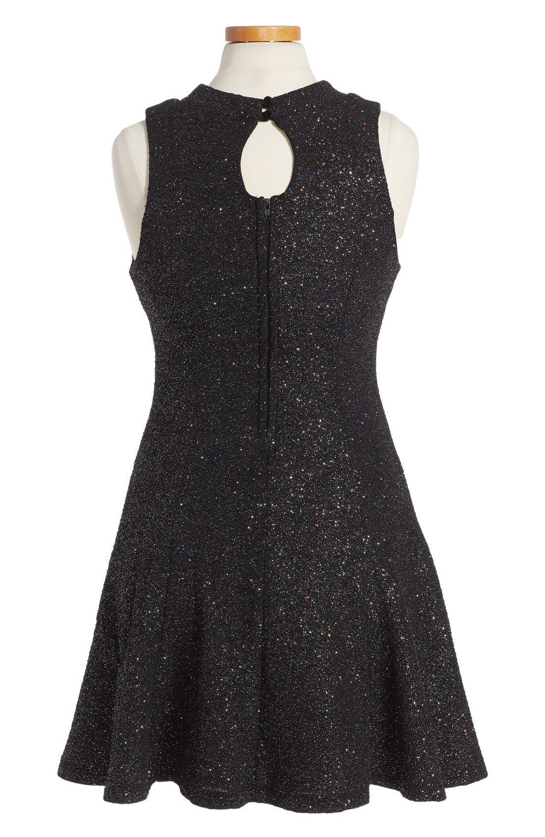 Shimmer Swing Dress,                             Alternate thumbnail 4, color,                             001