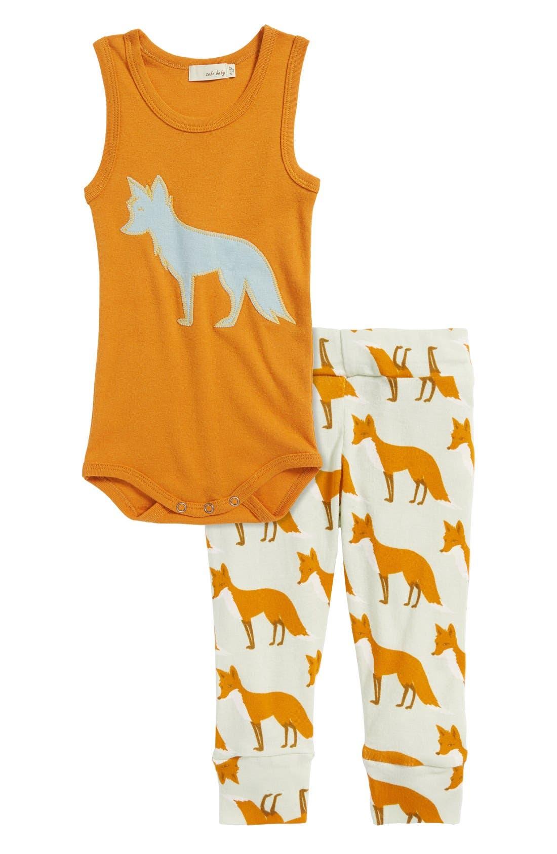 Zebi Baby 'Fox' Organic Cotton Bodysuit,                             Alternate thumbnail 2, color,                             800