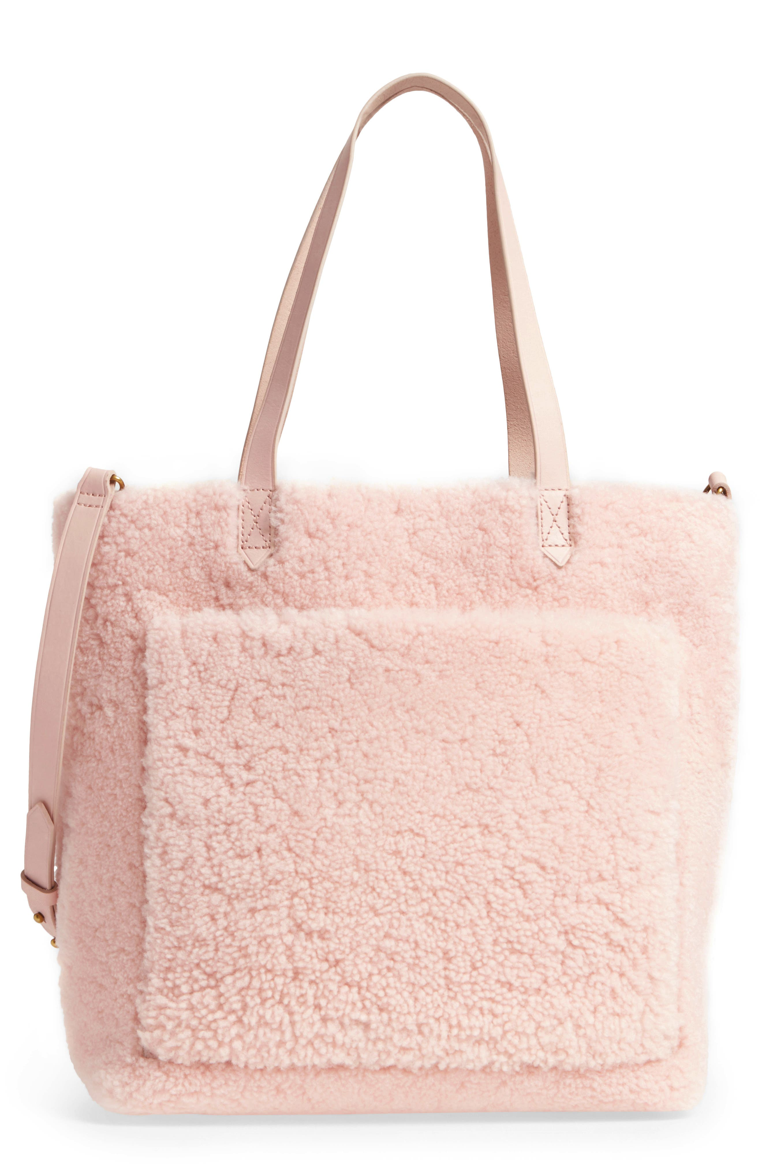Medium Transport Genuine Shearling Tote,                             Main thumbnail 1, color,