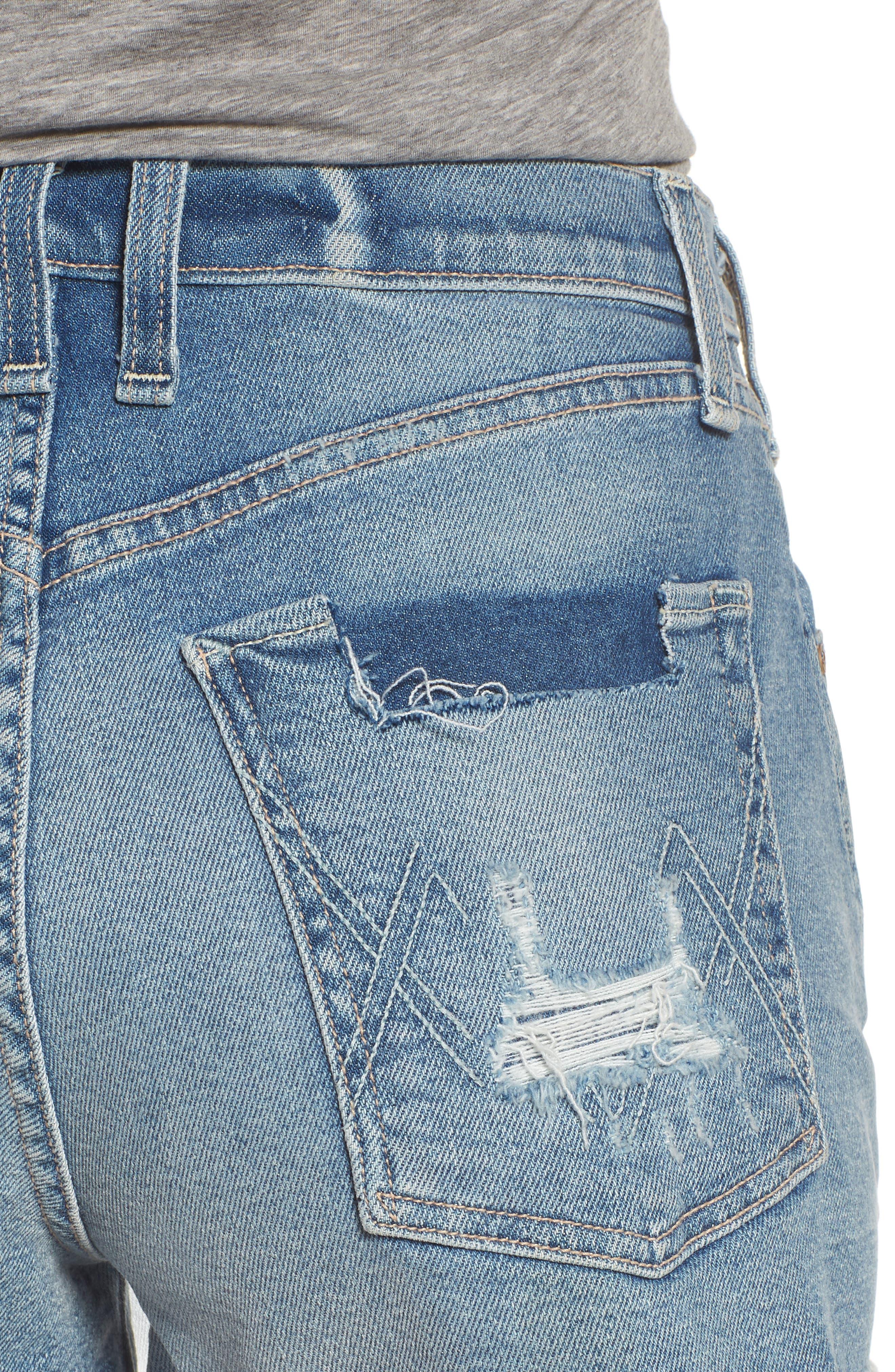 Georgia May Distressed Denim Shorts,                             Alternate thumbnail 4, color,                             450