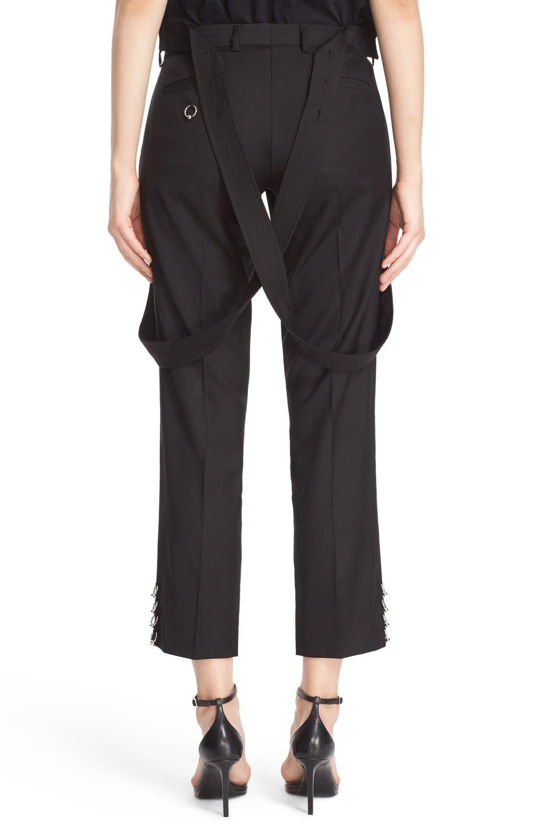 ASHLEY WILLIAMS,                             'Piercing' Wool Ankle Pants with Detachable Suspenders,                             Alternate thumbnail 6, color,                             001