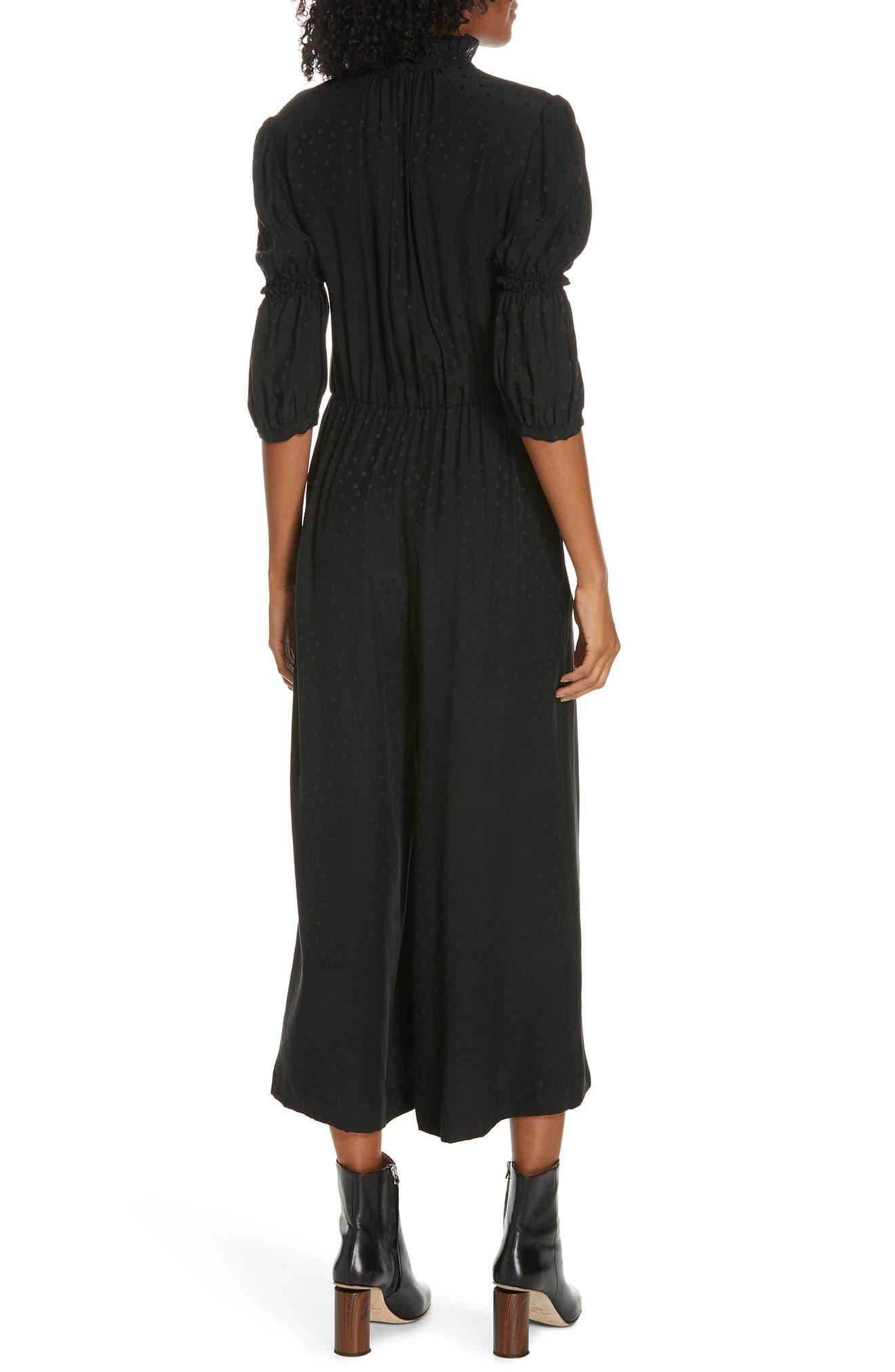 REBECCA TAYLOR,                             Silk Jacquard Jumpsuit,                             Alternate thumbnail 2, color,                             BLACK