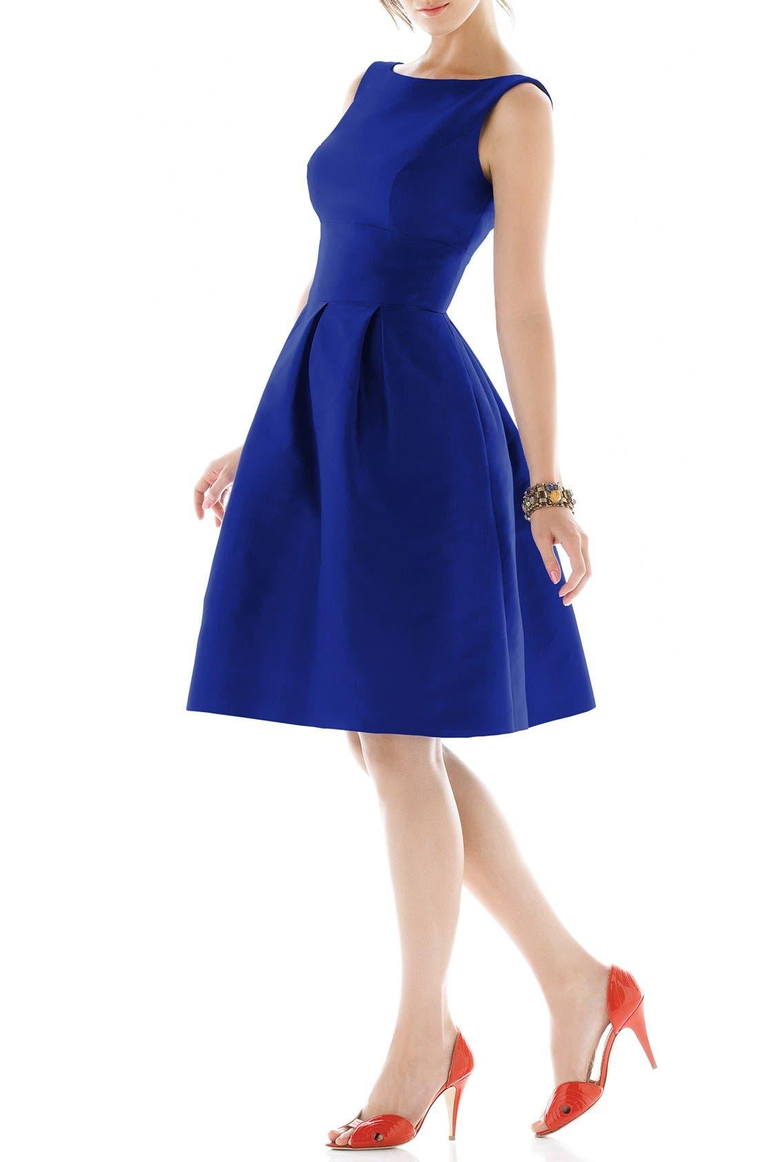 Dupioni Fit & Flare Dress,                             Main thumbnail 10, color,