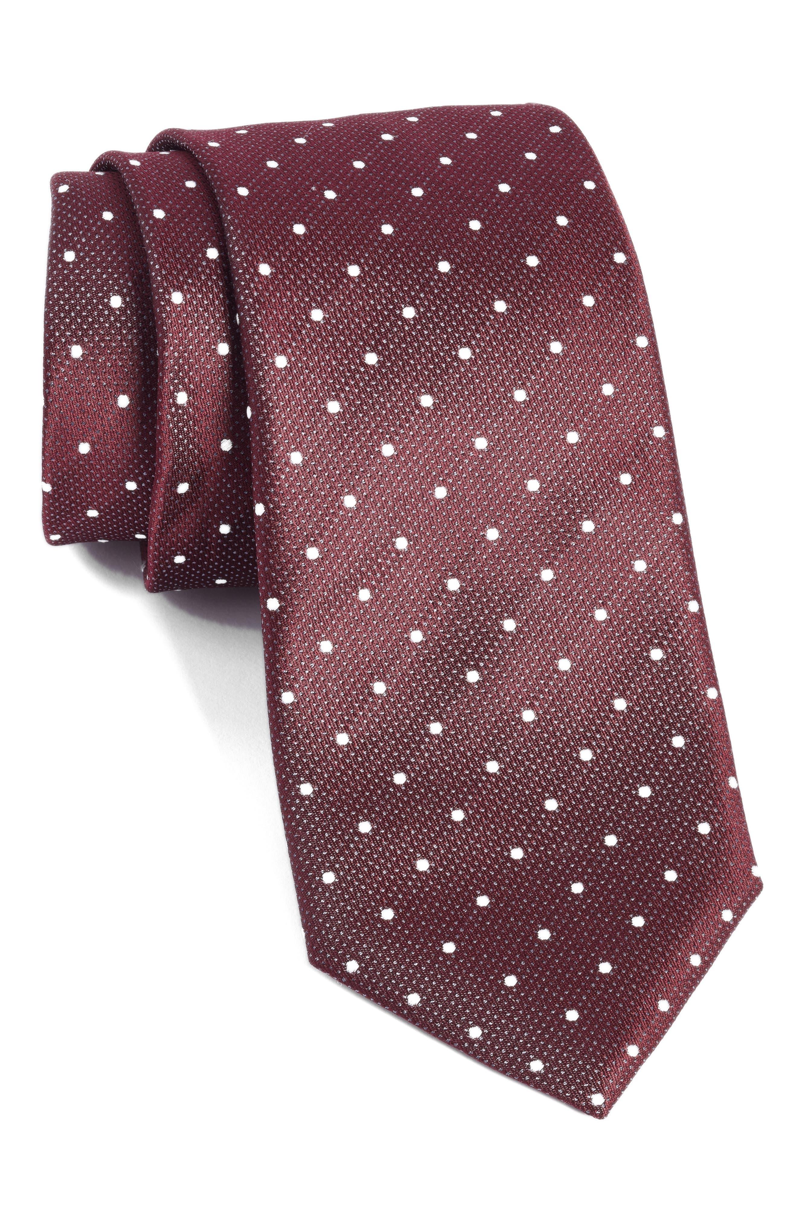 Dot Silk Tie,                             Main thumbnail 1, color,                             930