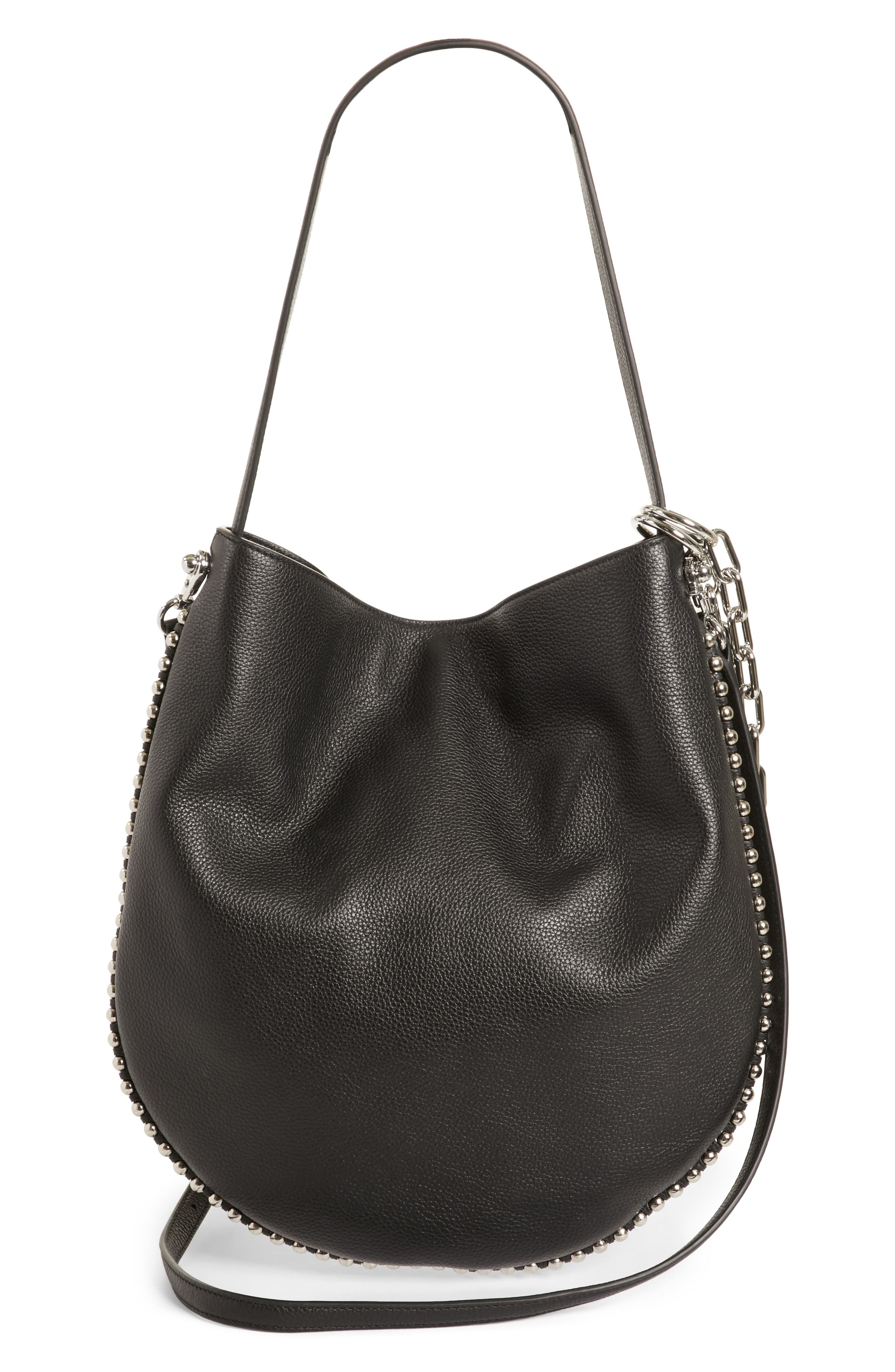 Roxy Leather Hobo,                             Alternate thumbnail 3, color,                             BLACK
