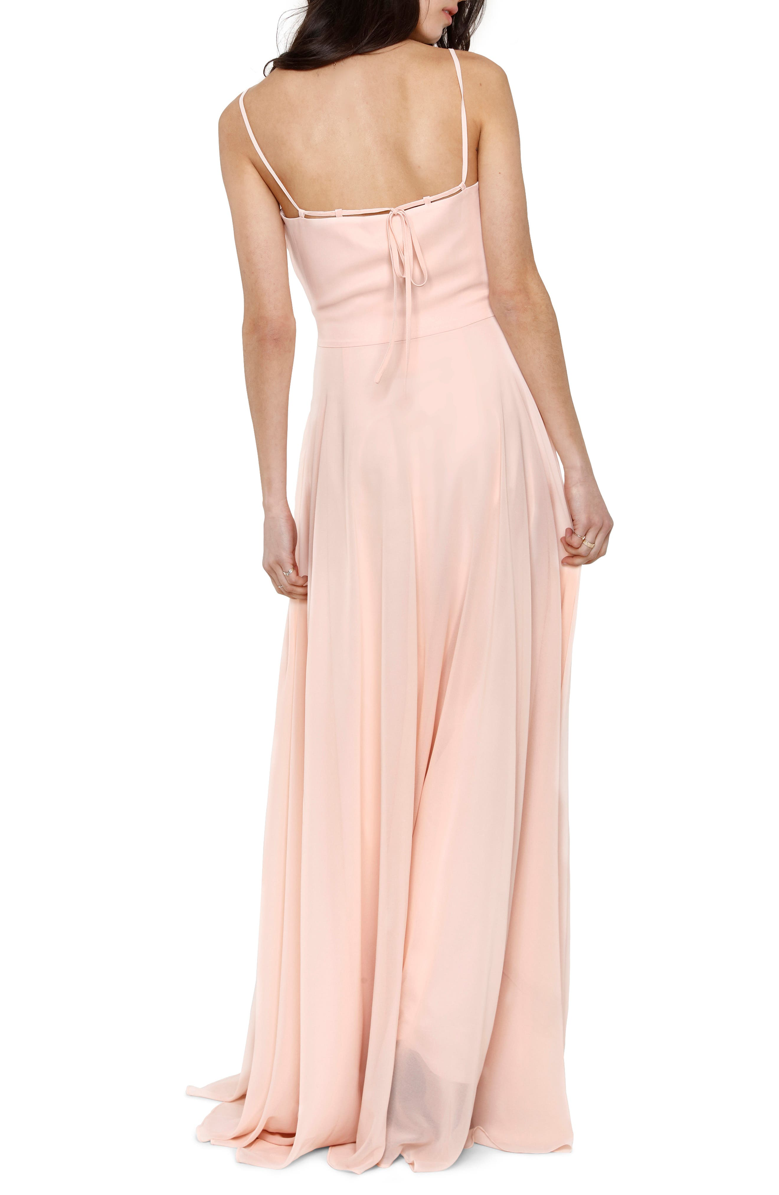 Francie Ruffle V-Neck Gown,                             Alternate thumbnail 2, color,                             PETAL