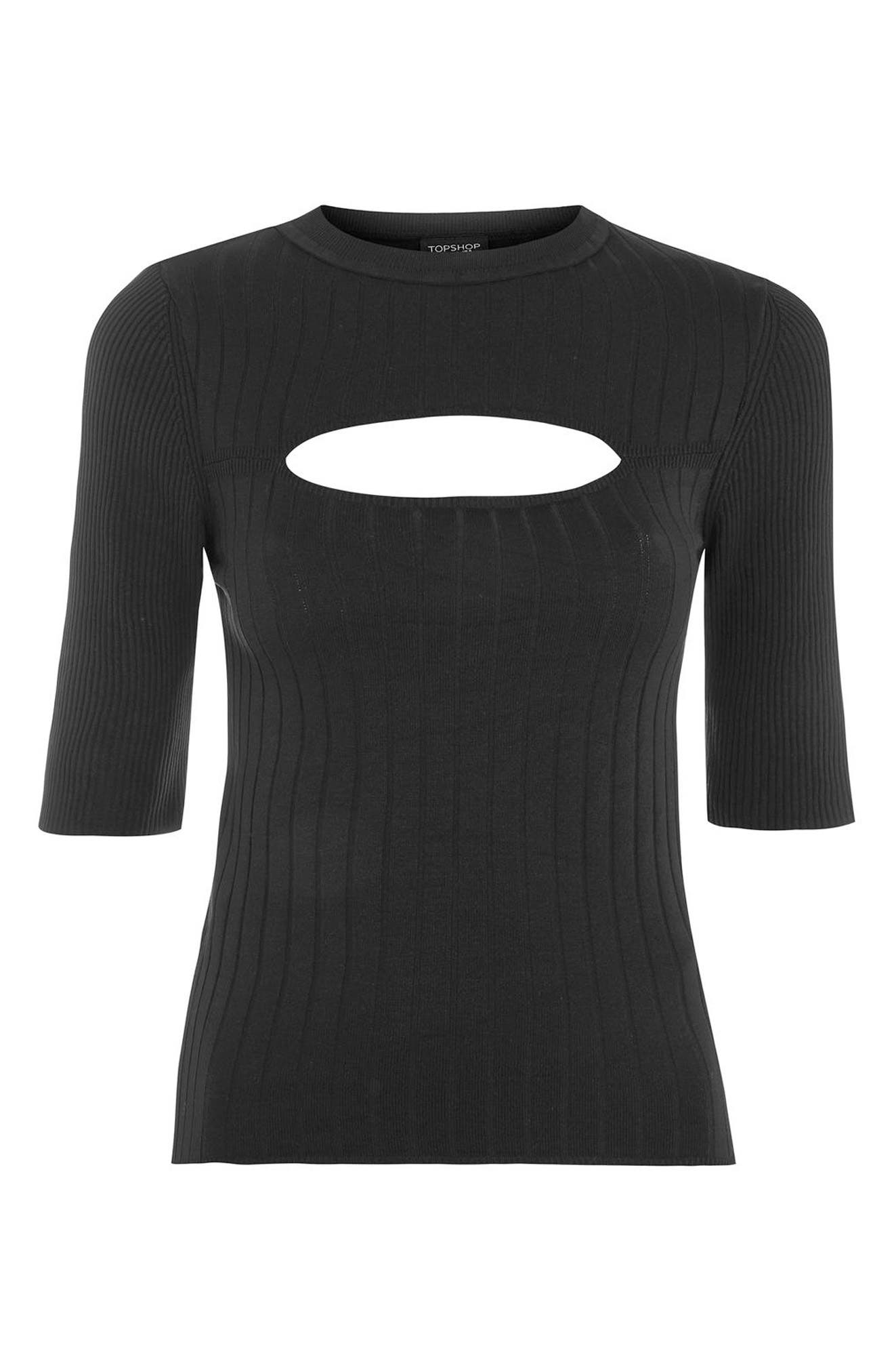 Spliced Rib Knit Top,                             Alternate thumbnail 4, color,                             001