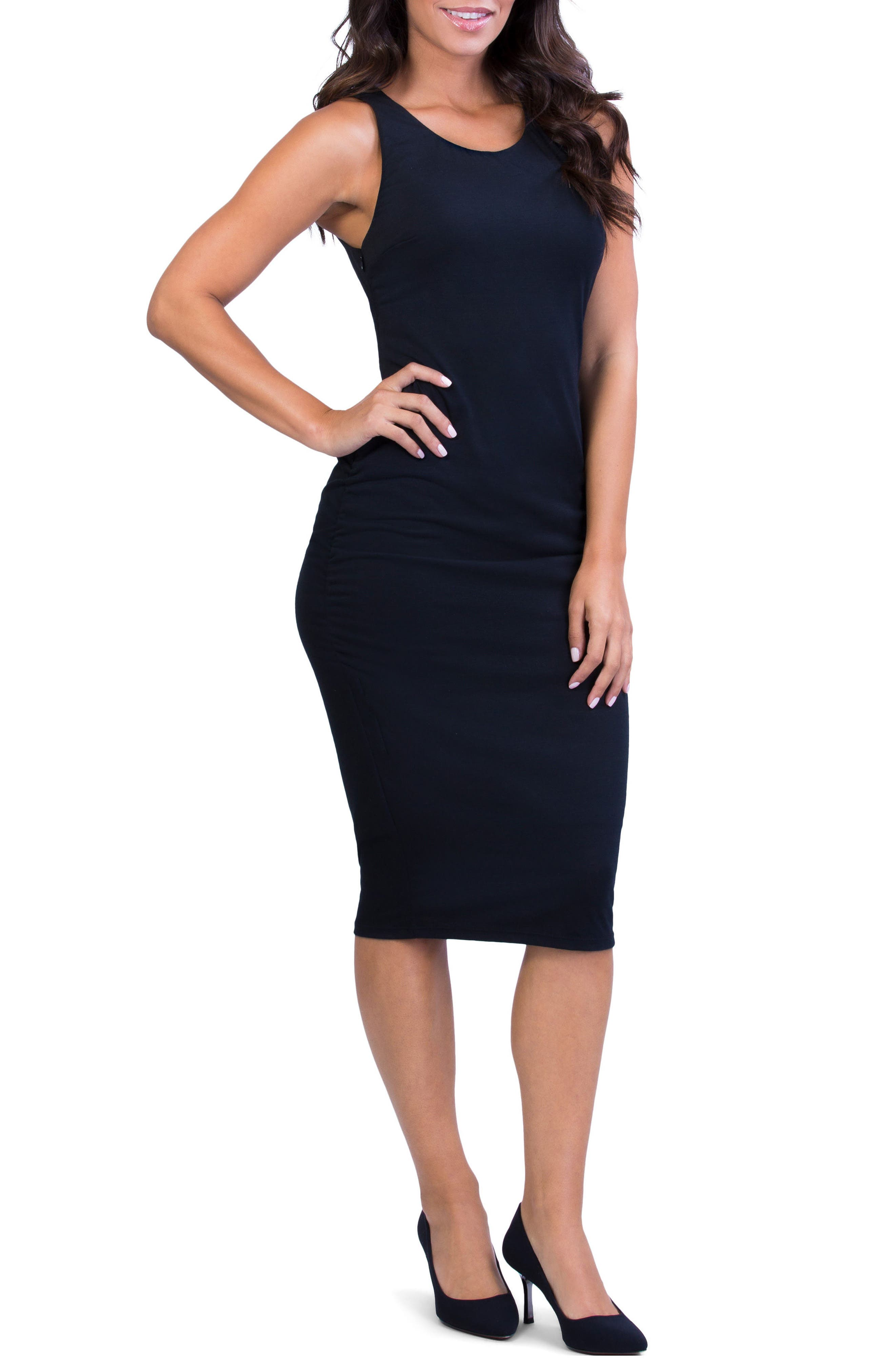 Perfect Ruched Maternity/Nursing Dress,                             Alternate thumbnail 3, color,                             BLACK