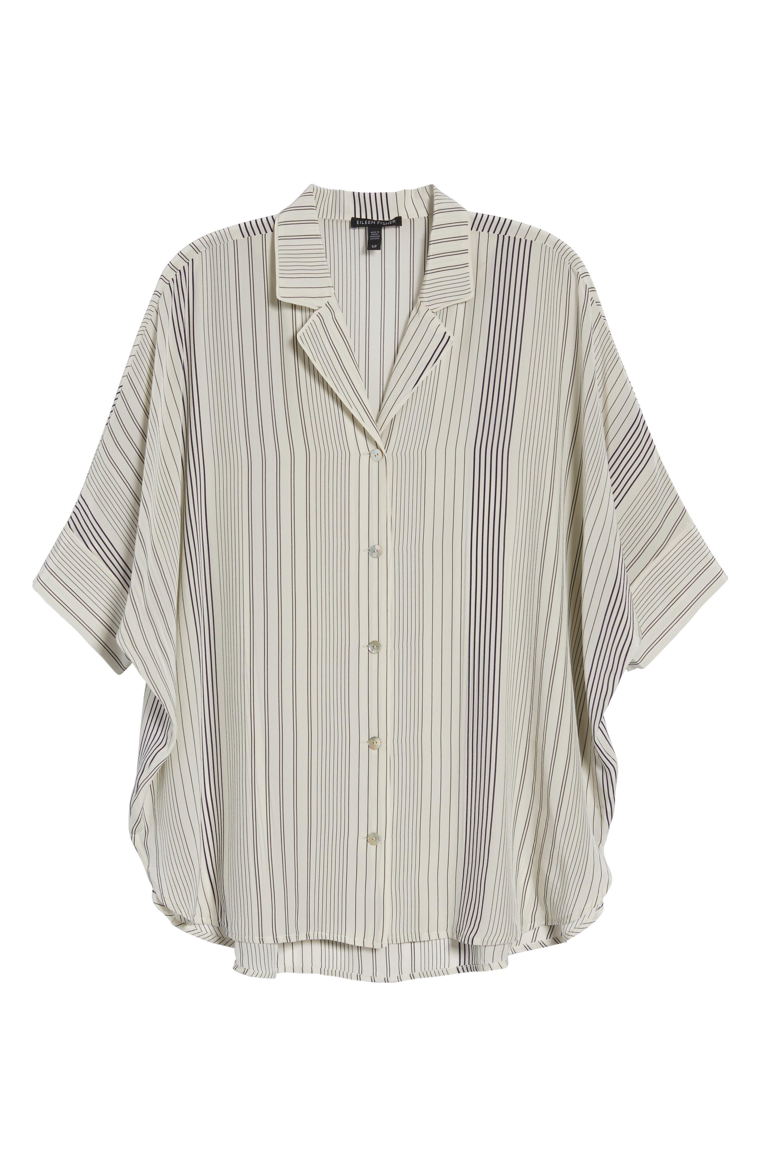 Stripe Silk Shirt,                             Alternate thumbnail 7, color,                             907