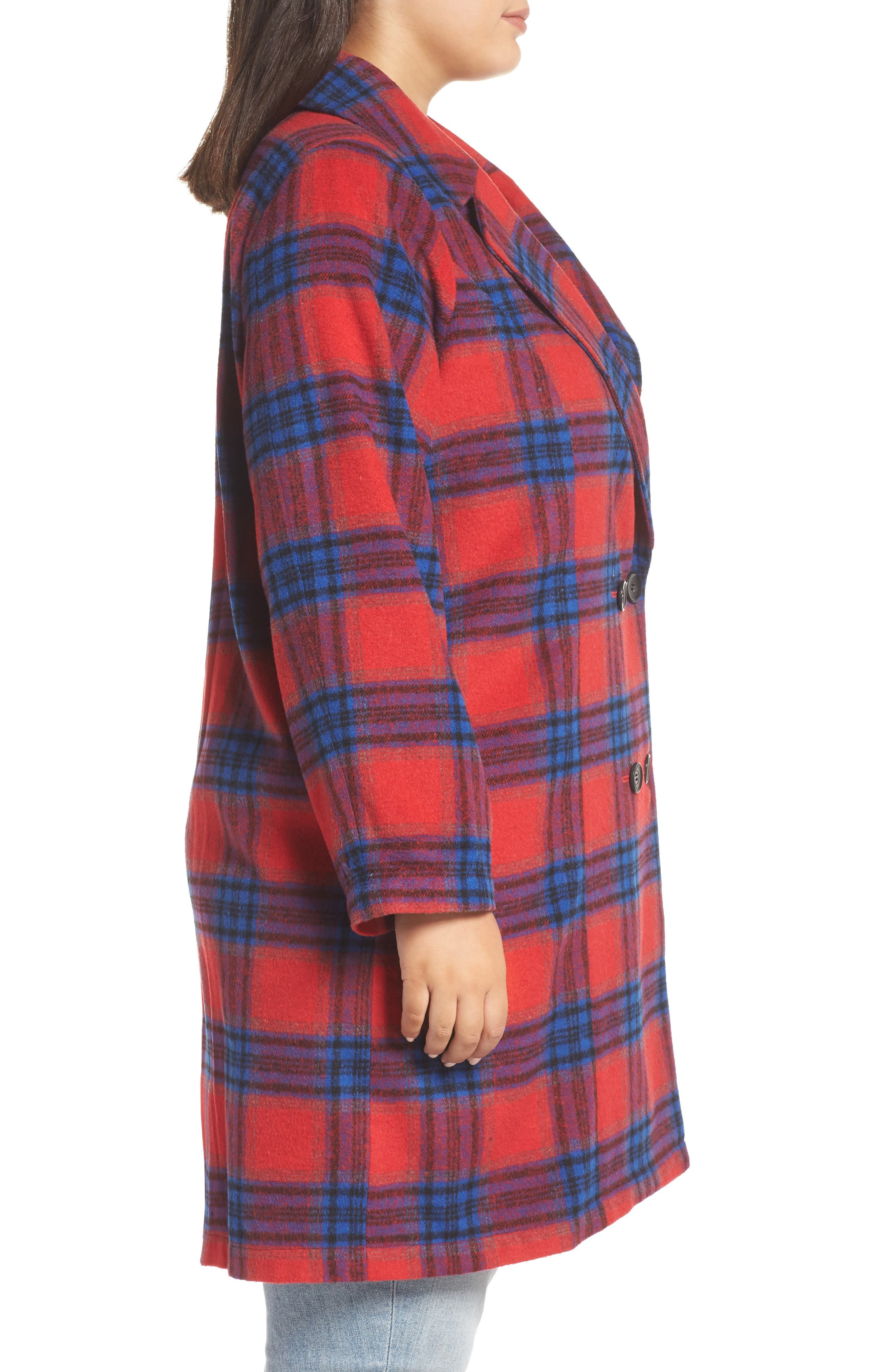 Double Breasted Plaid Jacket,                             Alternate thumbnail 3, color,                             RED CHINOISE RITA PLAID