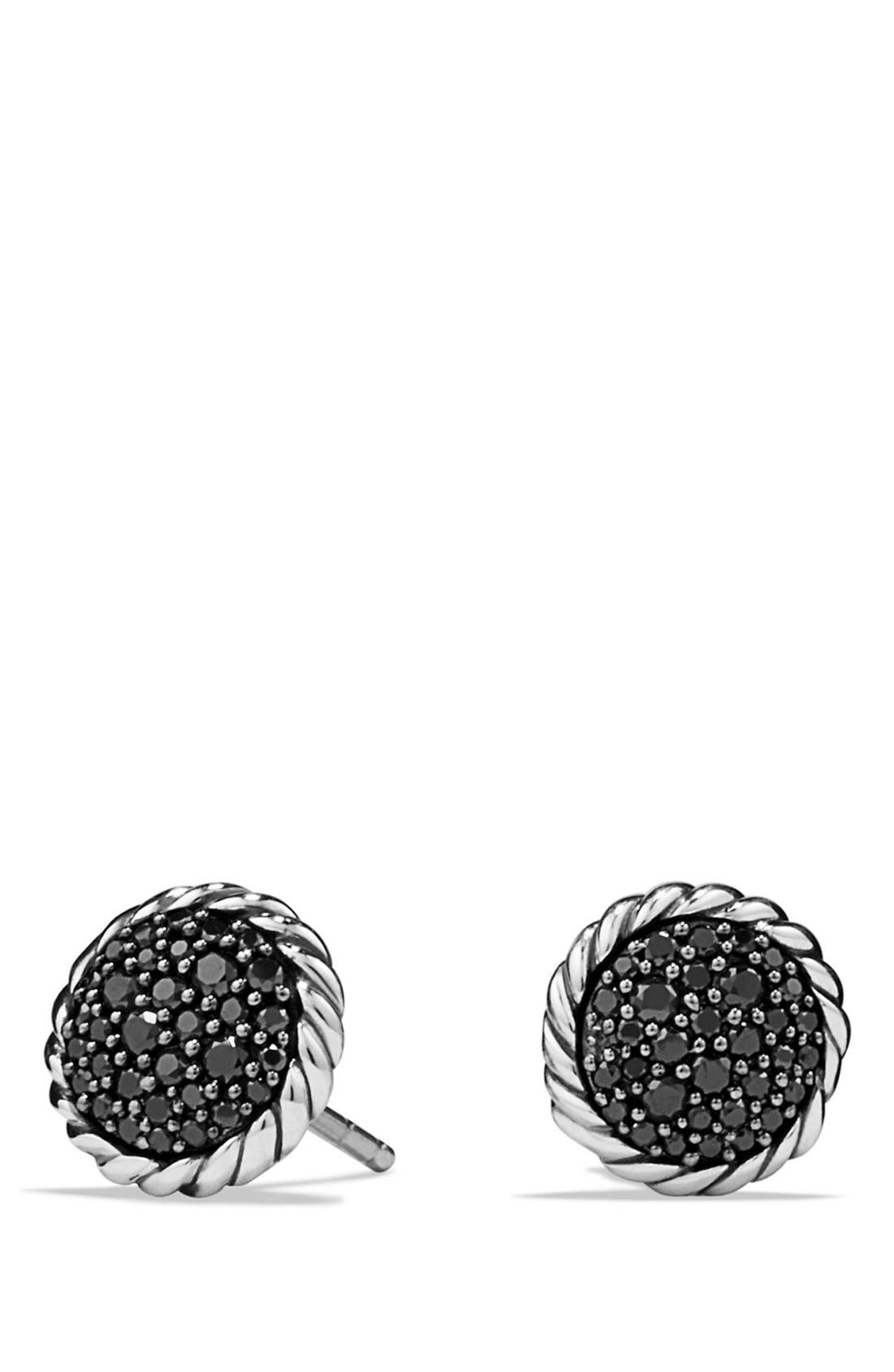 'Châtelaine' Pavé Earring with Black Diamonds,                             Main thumbnail 1, color,                             BLACK DIAMOND
